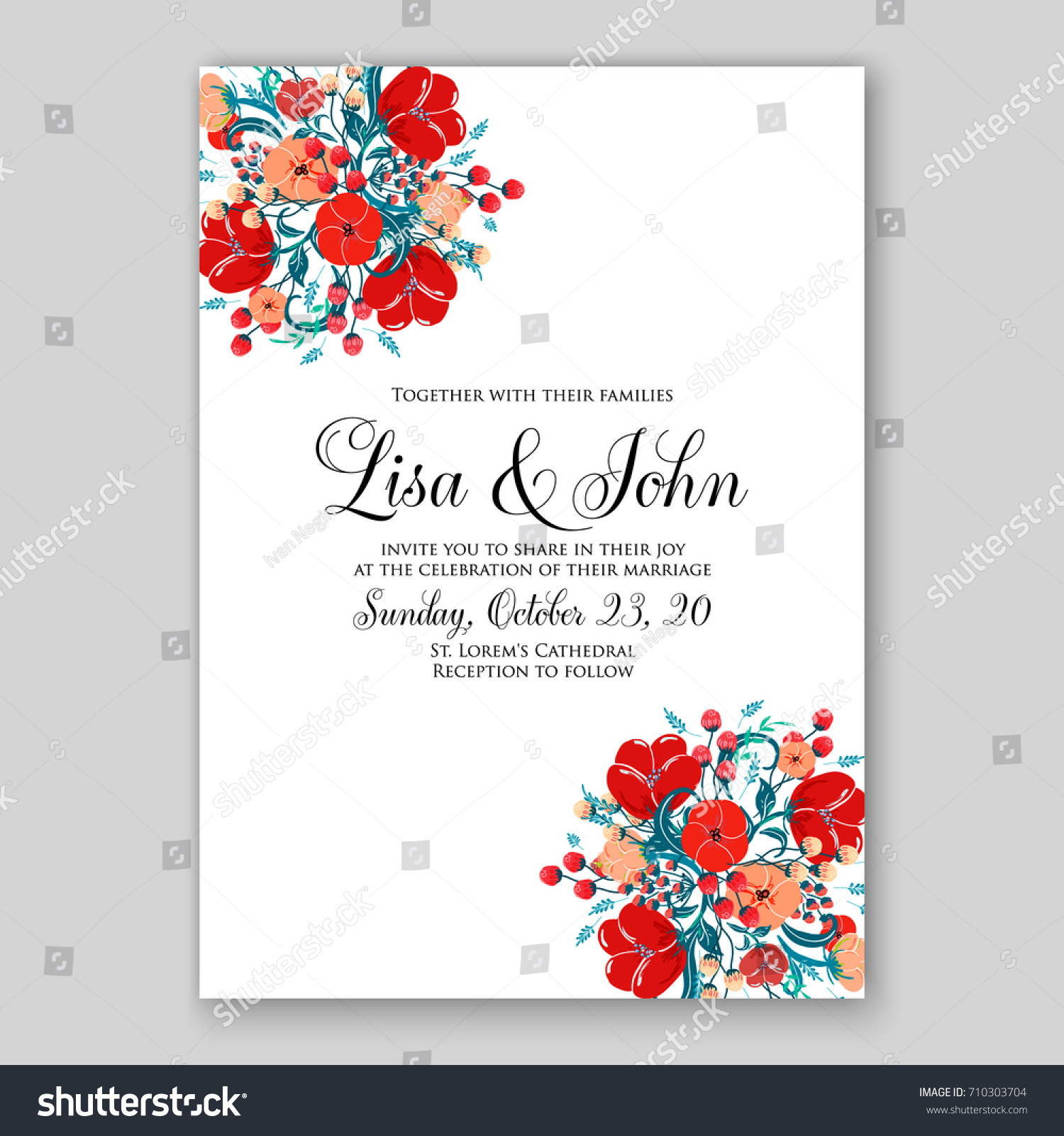 Romantic spring floral rustic flowers background stock photo photo romantic spring floral of rustic flowers background for wedding invitation vector template card red poppy stopboris Image collections