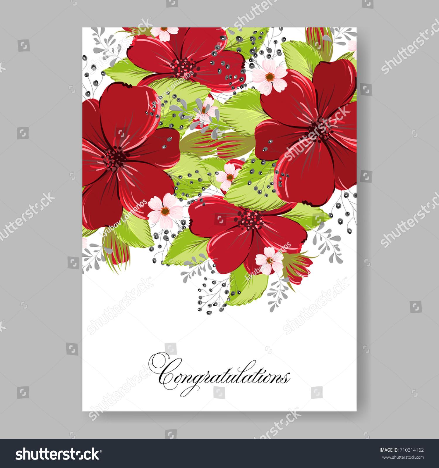 Floral Wedding Invitation Beautiful Burgundy Anemone Stock Vector ...