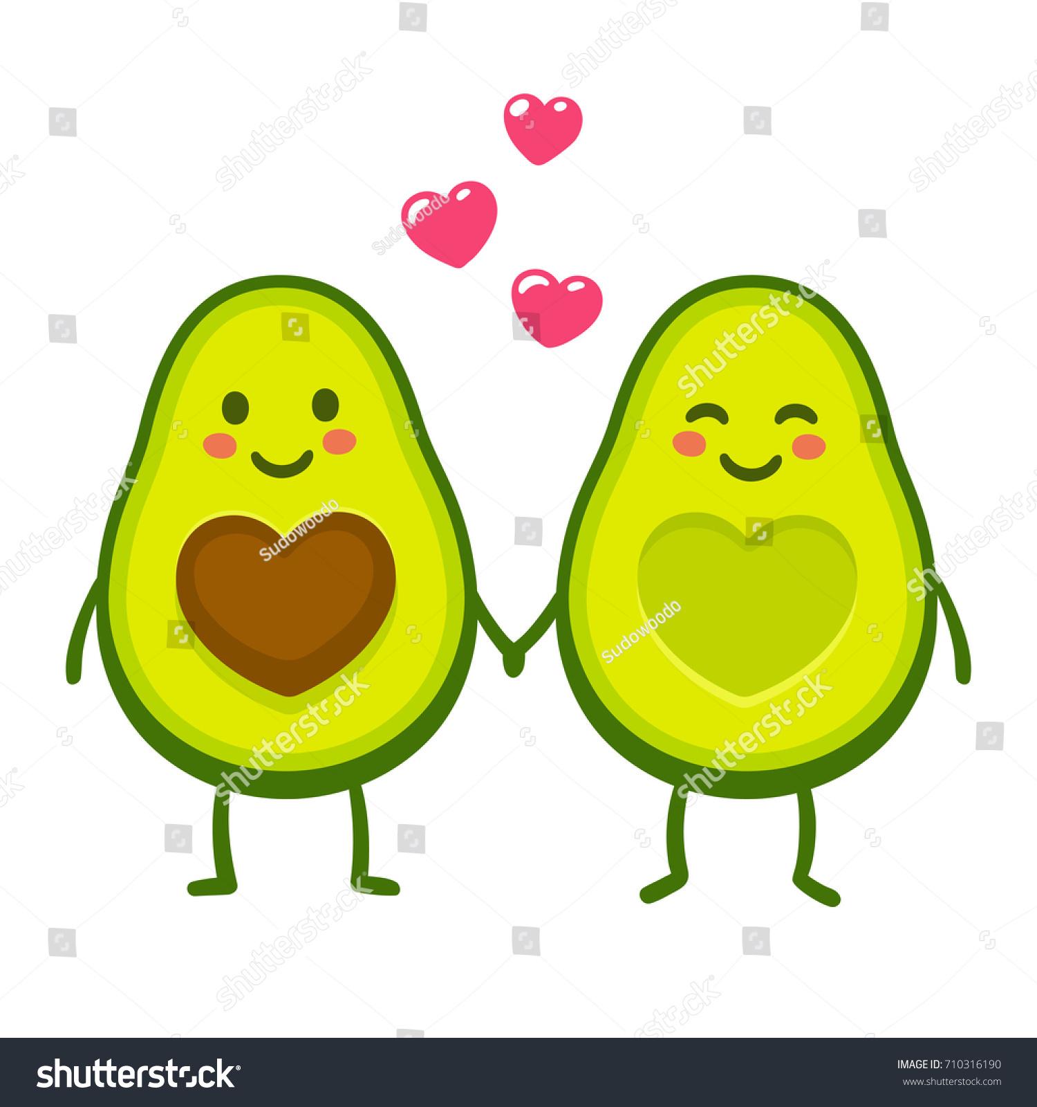 Cute Cartoon Avocado Couple Holding Hands Stock Vector