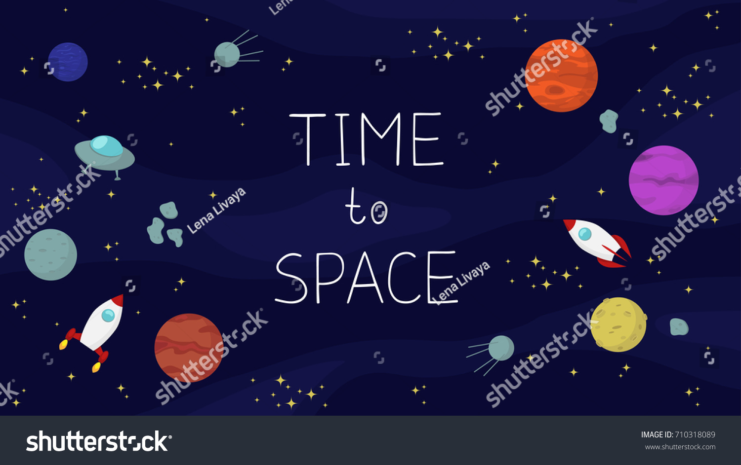 Space Background Planets Stars Spaceships Inscription 710318089