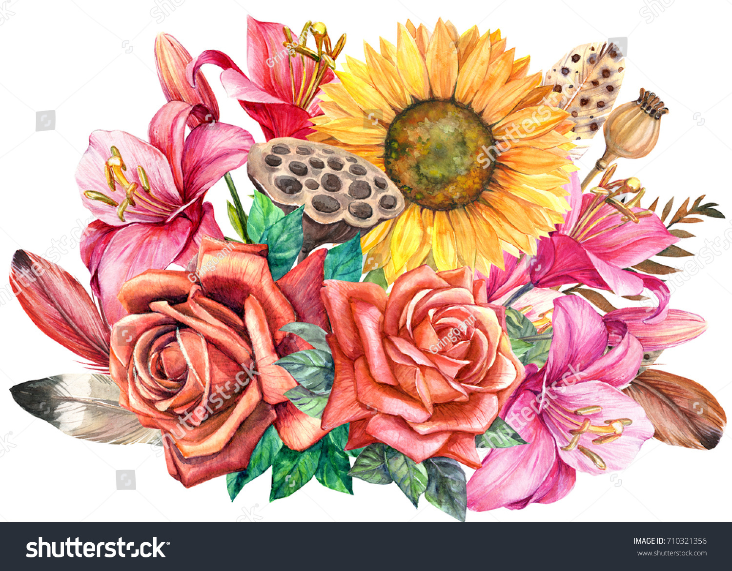 Bouquet Flowers Lily Roses Sunflower Lotus Stock Illustration