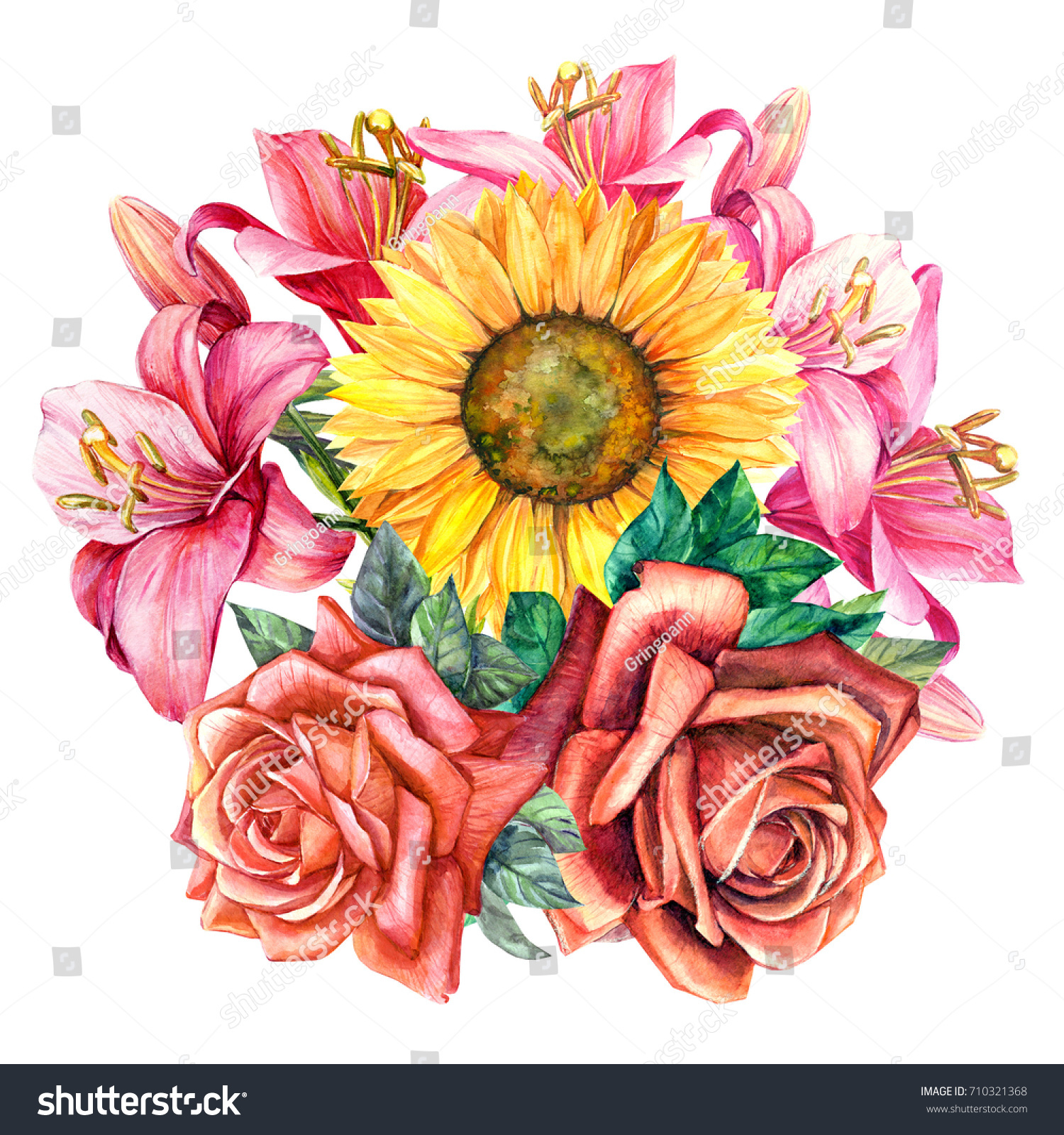 Bouquet flowers lily roses sunflower watercolor stock illustration bouquet of flowers lily roses sunflower watercolor hand drawing izmirmasajfo