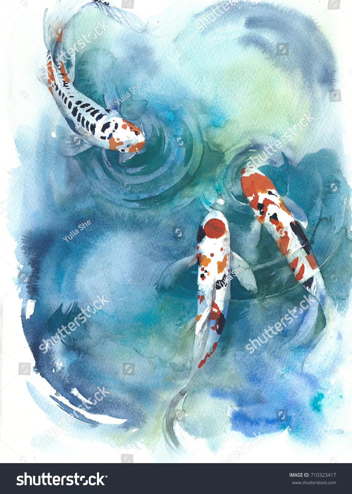 fish japanese symbol pond watercolor painting stock illustration