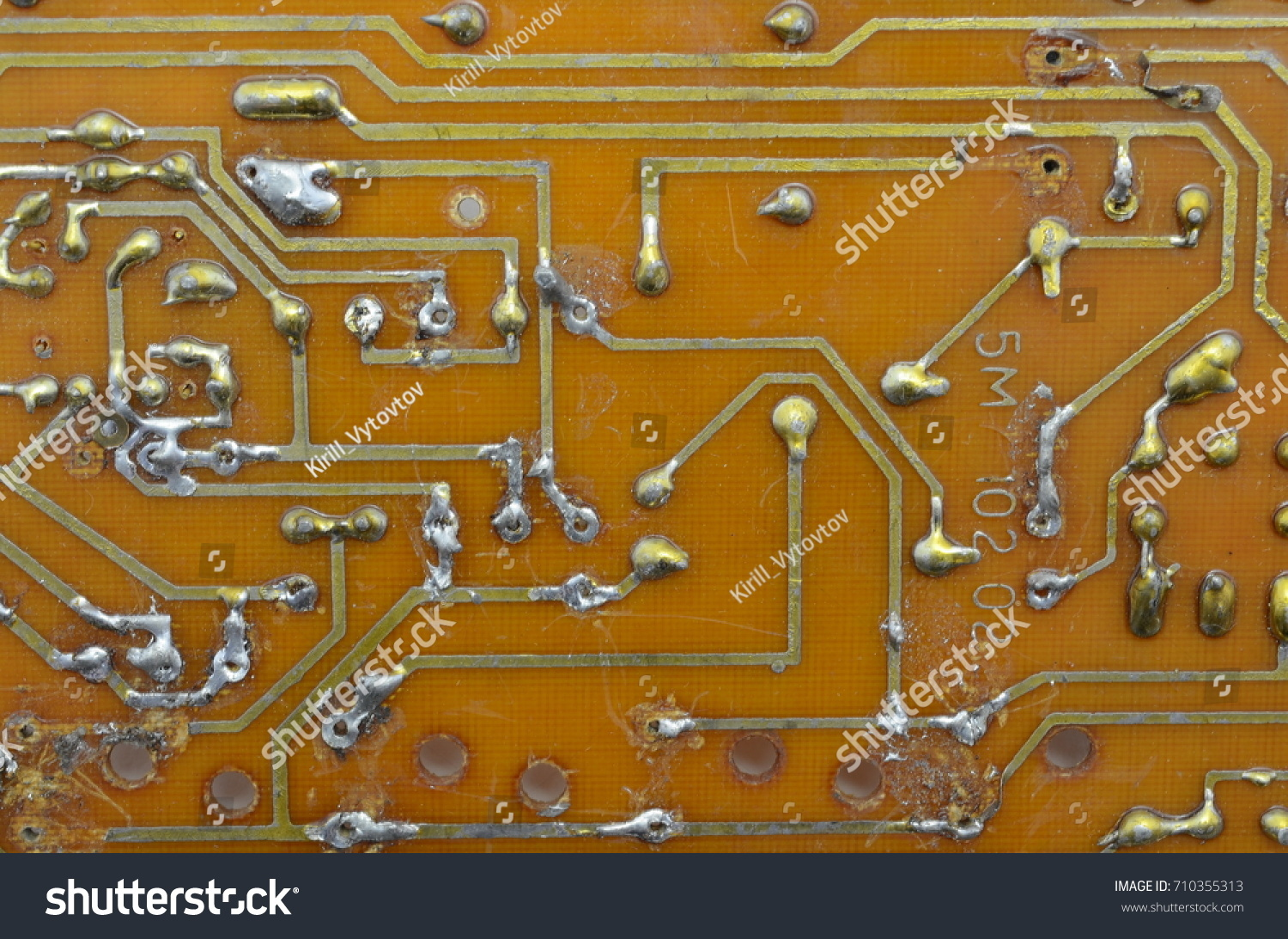 Old Homemade Printed Circuit Board Electronic Stock Photo Edit Now Picture Of With Components And Conductors Background