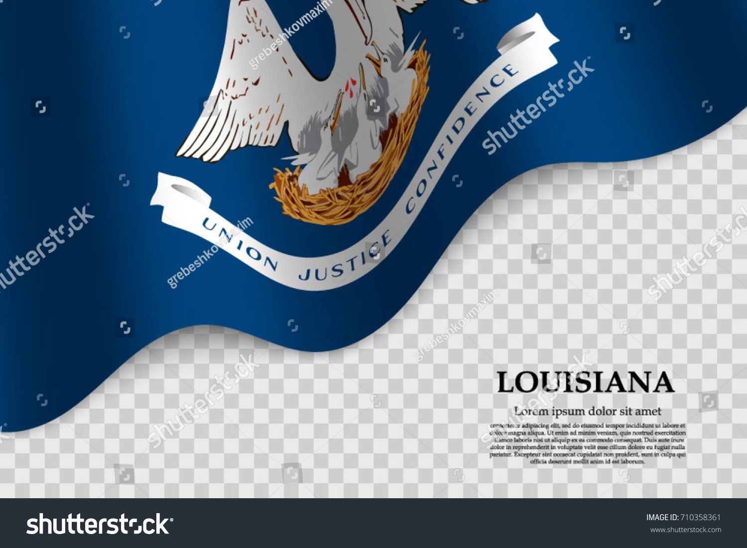Waving flag louisiana state usa on stock vector 710358361 waving flag of louisiana is a state of usa on transparent background template for banner pronofoot35fo Gallery