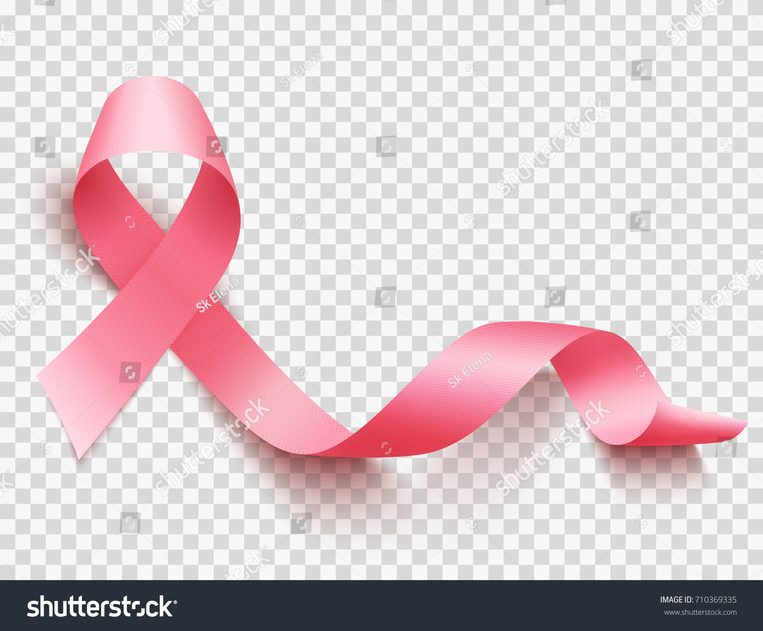 Realistic pink ribbon, breast cancer awareness symbol, vector illustration #710369335