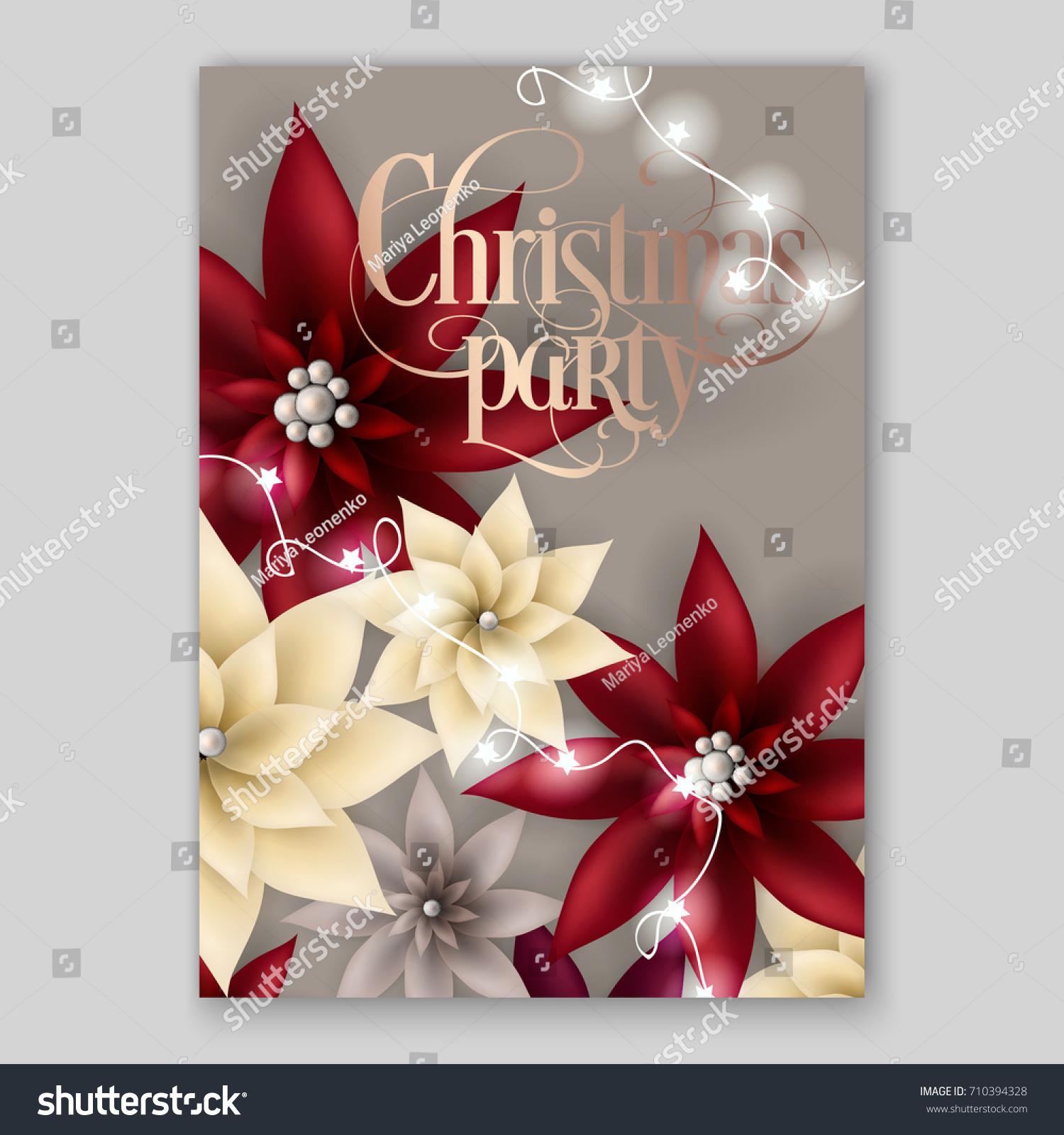 Christmas Party Invitation Big Paper Vector Stock Vector Royalty