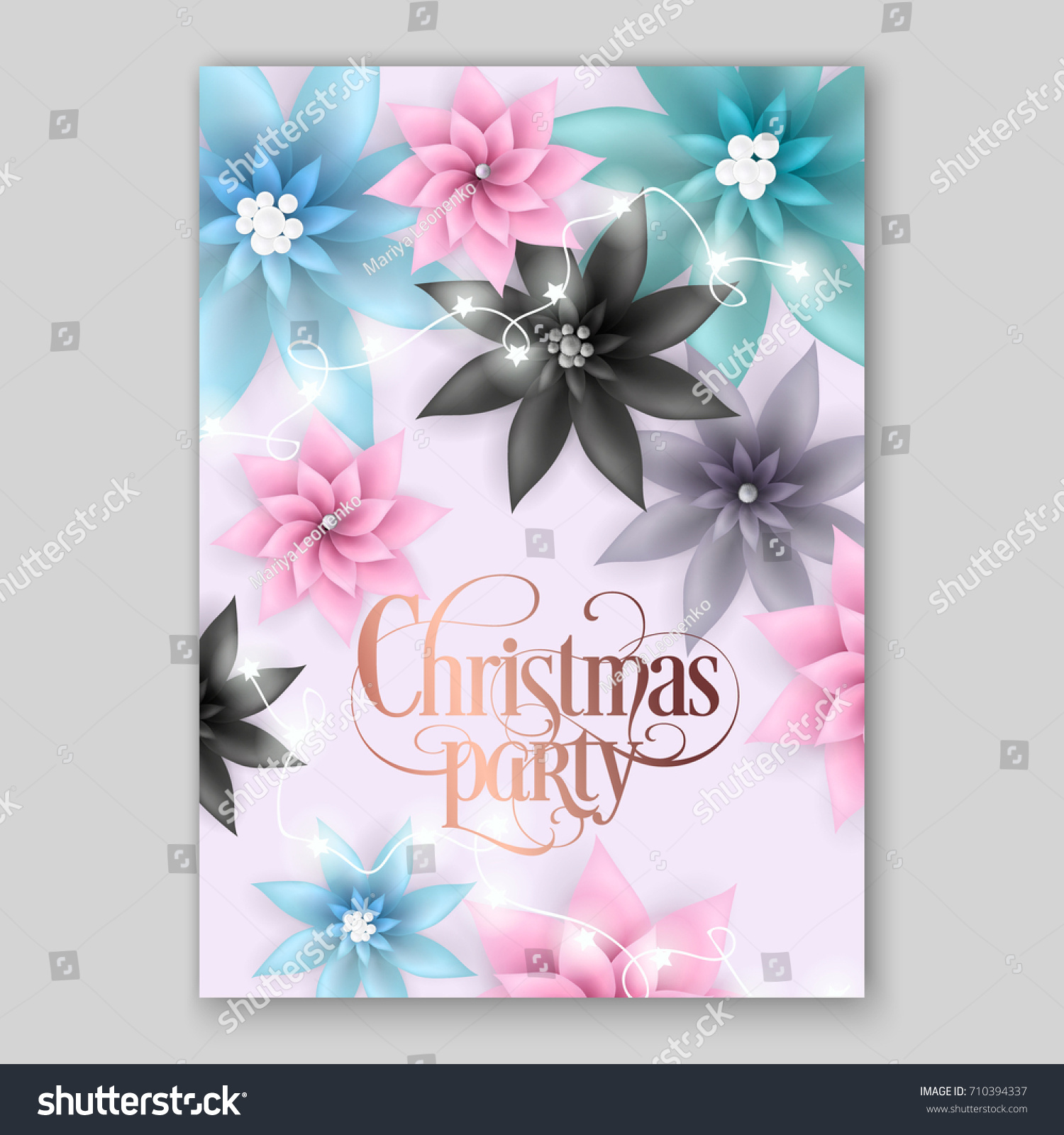 Christmas party invitation big paper vector stock vector royalty christmas party invitation with big paper vector origami flowers pink and blue poinsettia 3d mightylinksfo