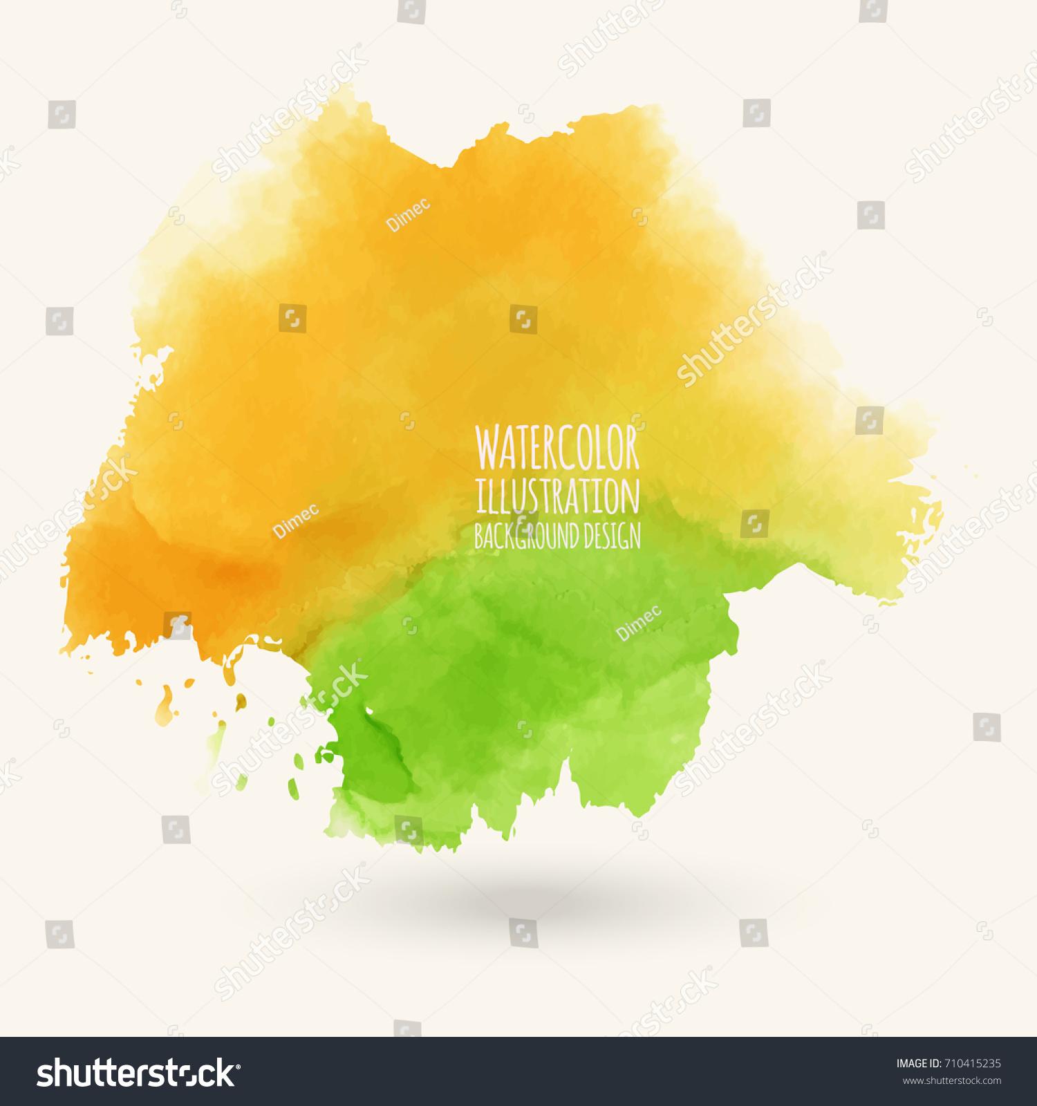 Vector Green Orange Yellow Autumn Brush Stock Vector