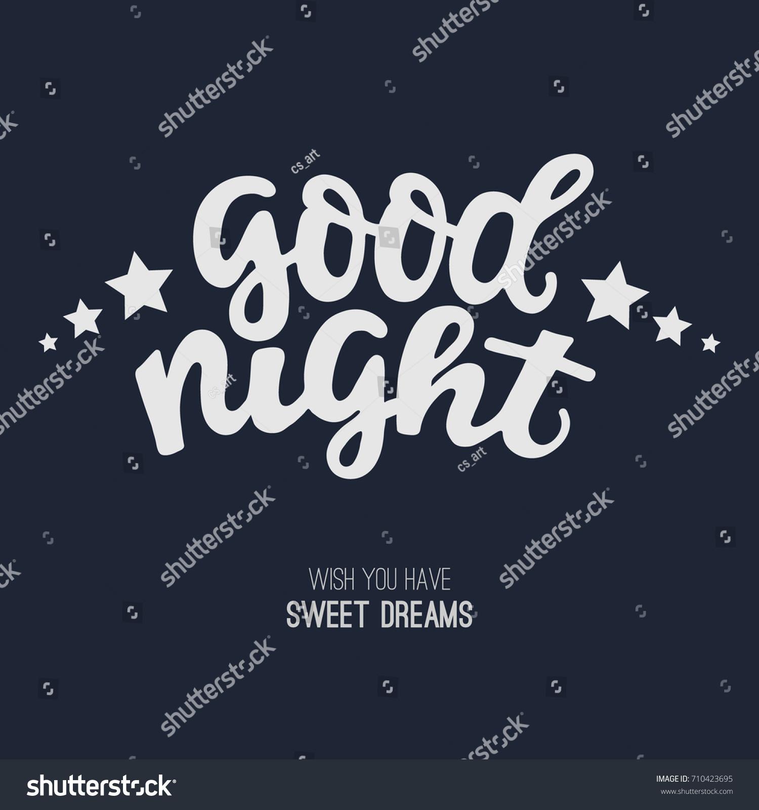 Good Night Greeting Card Handdrawn Lettering Stock Vector Hd