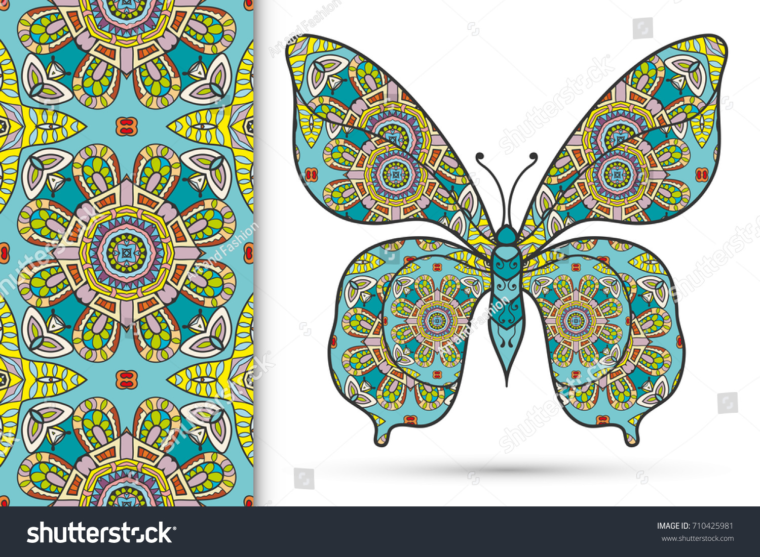 decorative butterfly colorful doodle seamless pattern stock vector