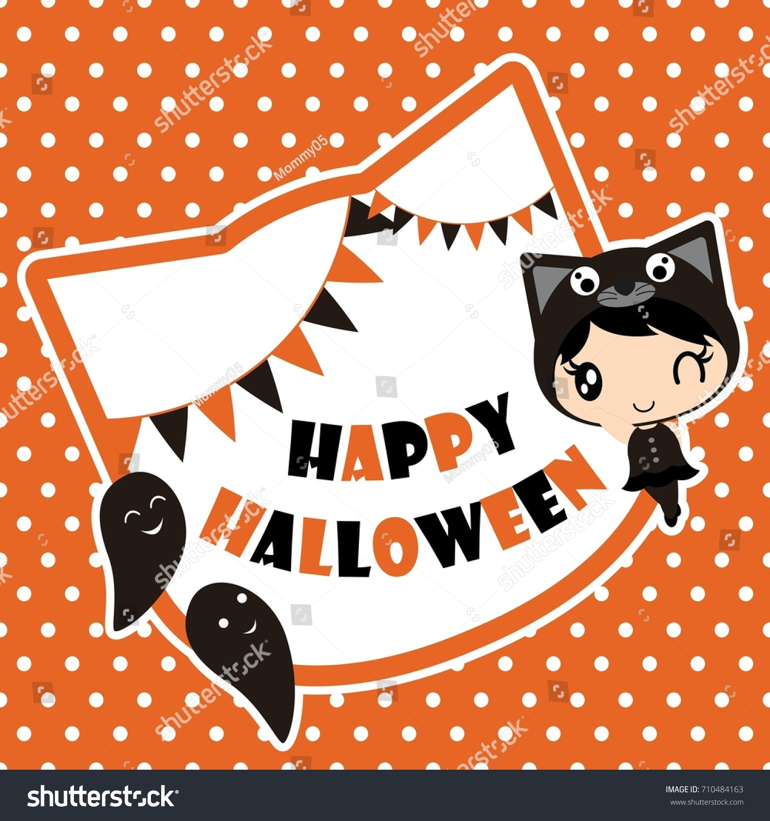 Best Wallpaper Halloween Polka Dot - stock-vector-cute-black-cat-girl-with-ghosts-on-polka-dot-background-vector-cartoon-illustration-for-halloween-710484163  Perfect Image Reference_608434.jpg