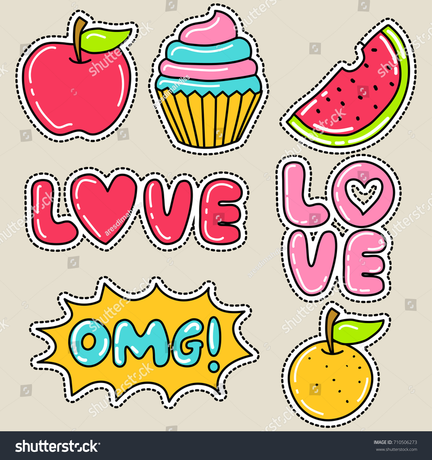 Love cupcake and watermelon patch design cute girly sticker patch design series