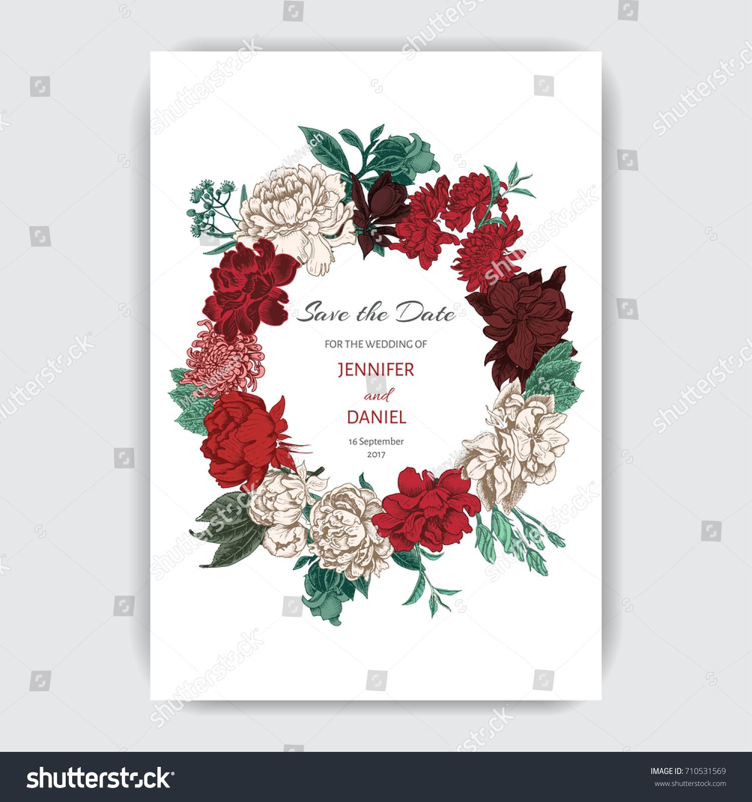 Vector Illustration Sketch Card Flowers Chrysanthemum Stock Vector ...