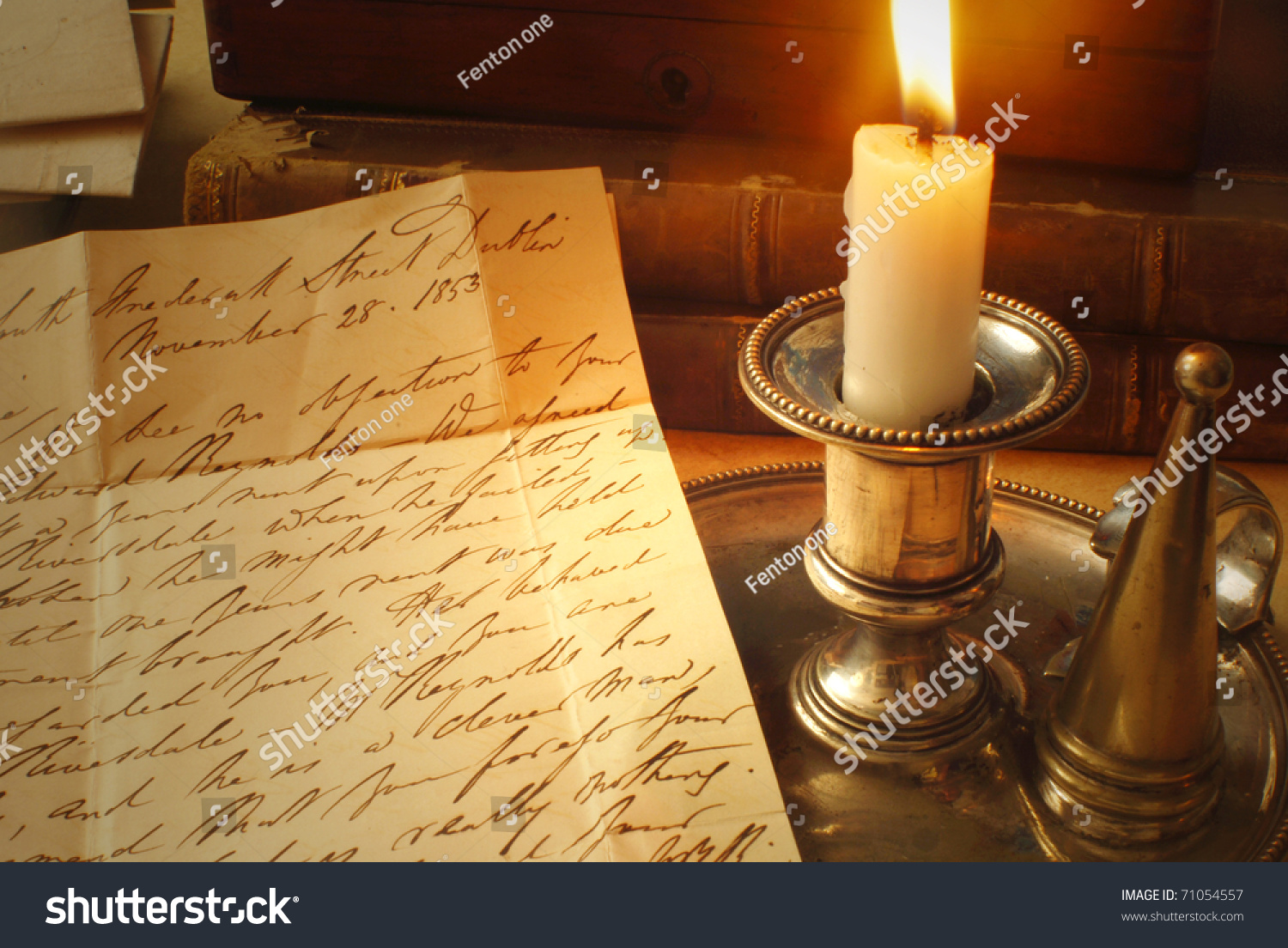 reading a letter by candle light from 1800 39 s stock photo 71054557 shutterstock. Black Bedroom Furniture Sets. Home Design Ideas