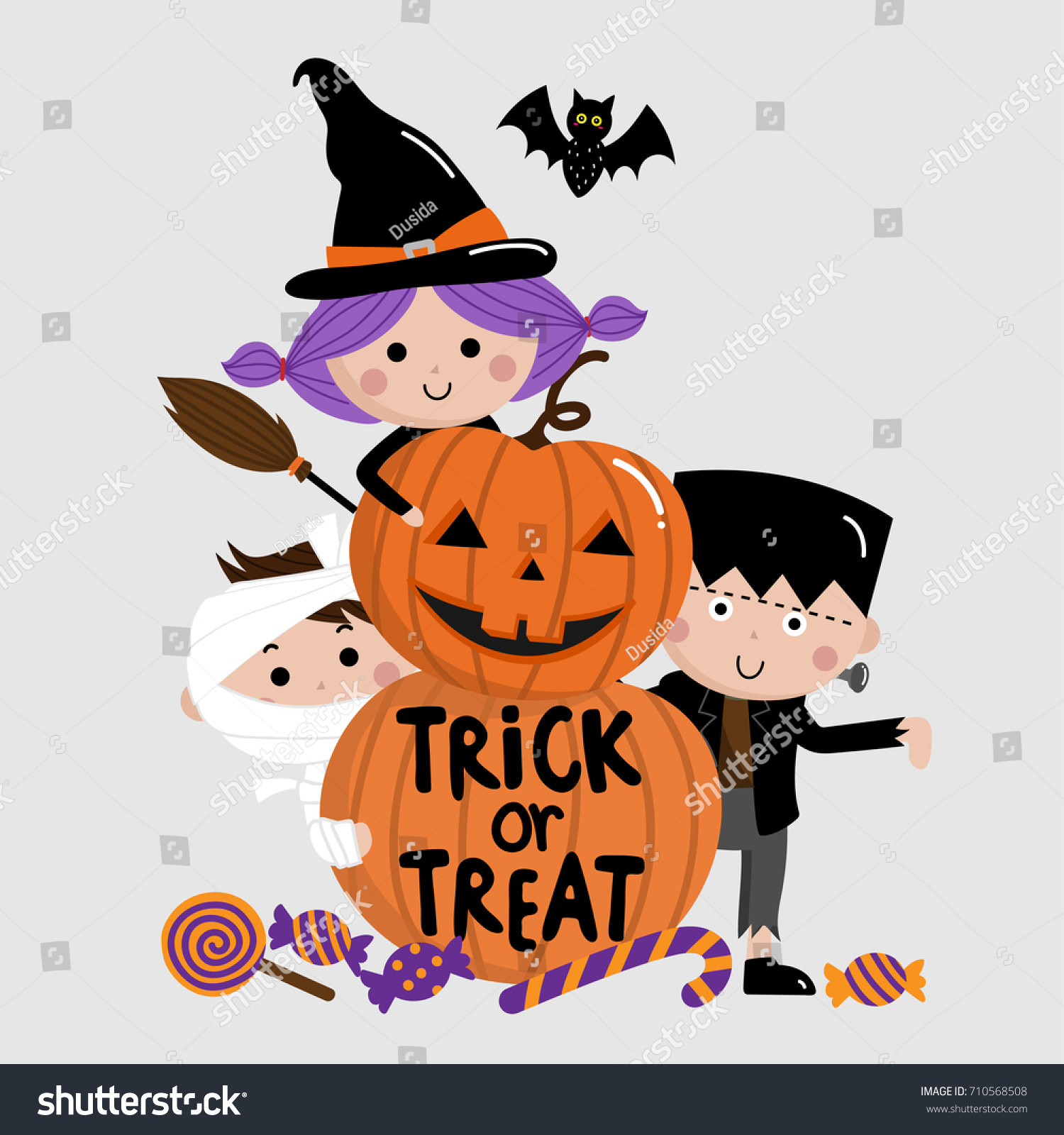 Halloween Trick Or Treat Clipart.Halloween Trick Treat Kids Pumpkin Vector Stock Vector Royalty Free 710568508