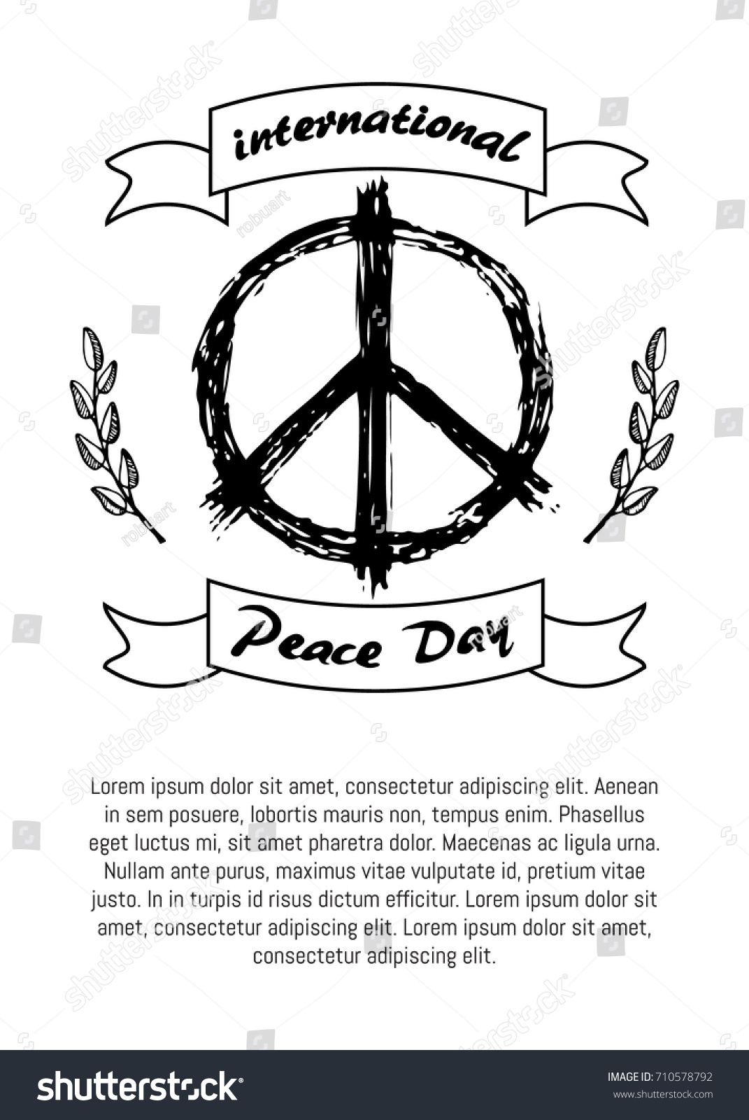 International peace day poster hippie sign stock vector 710578792 international peace day poster with hippie sign in black and white colors and olive branch symbols biocorpaavc Images