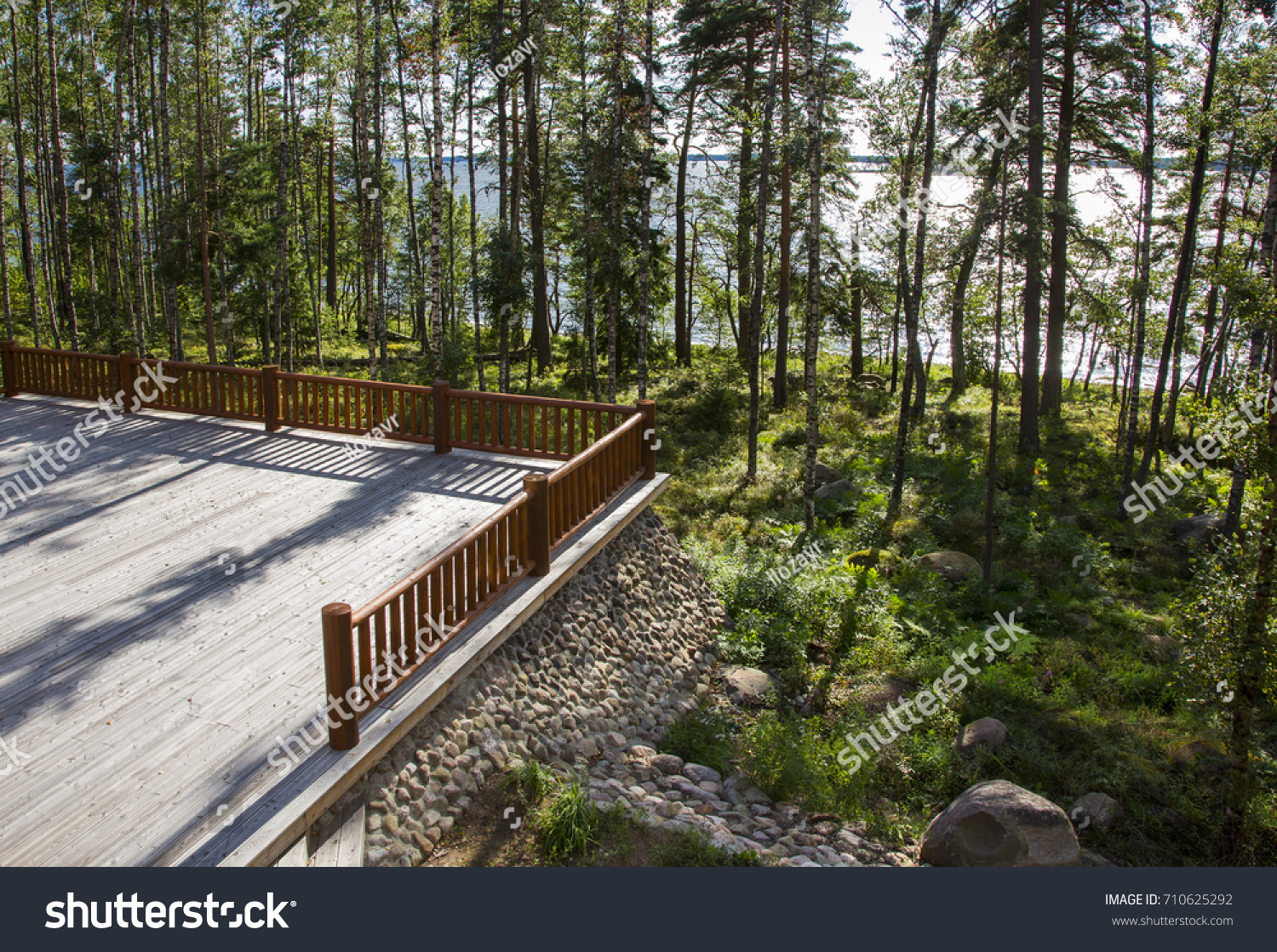 Spacious Terrace Balcony Wooden House Forest Stock Photo Edit Now 710625292