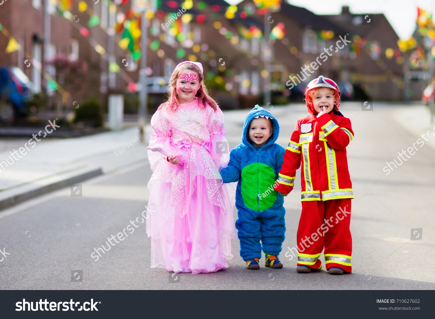 kids on halloween trick treat children stock photo (edit now
