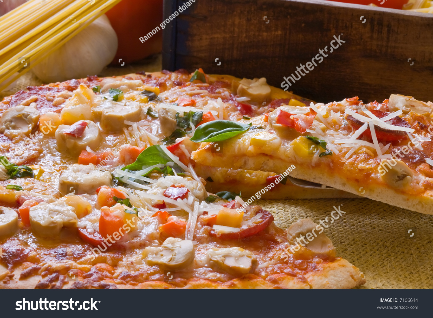 New York Style Pepperoni Pizza Decoration Stock Photo (Edit Now
