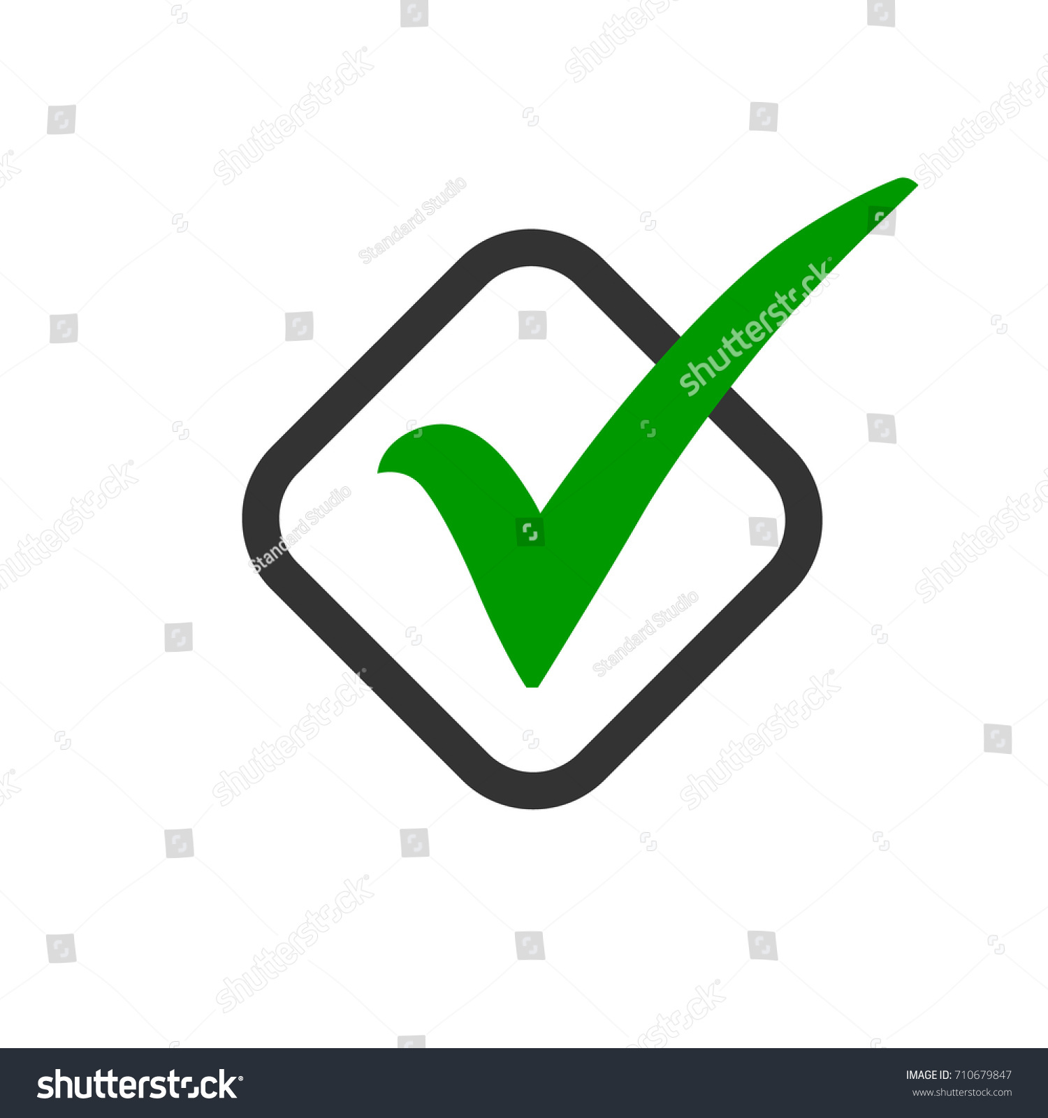 Green check mark icon black outlined stock vector 710679847 green check mark icon in a black outlined box tick symbol in green color biocorpaavc Image collections