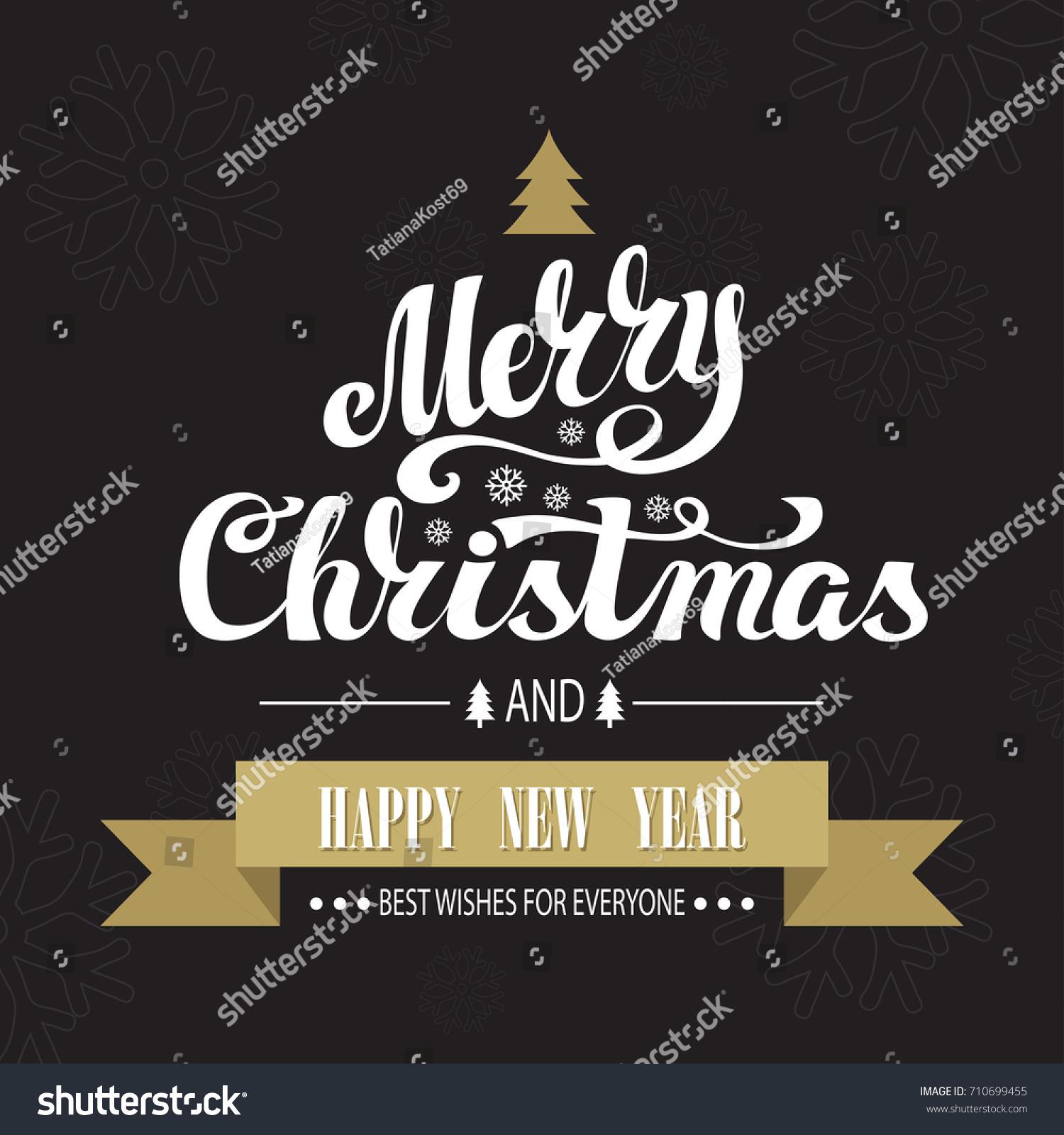 Christmas Greeting Card Merry Christmas Handwriting Stock