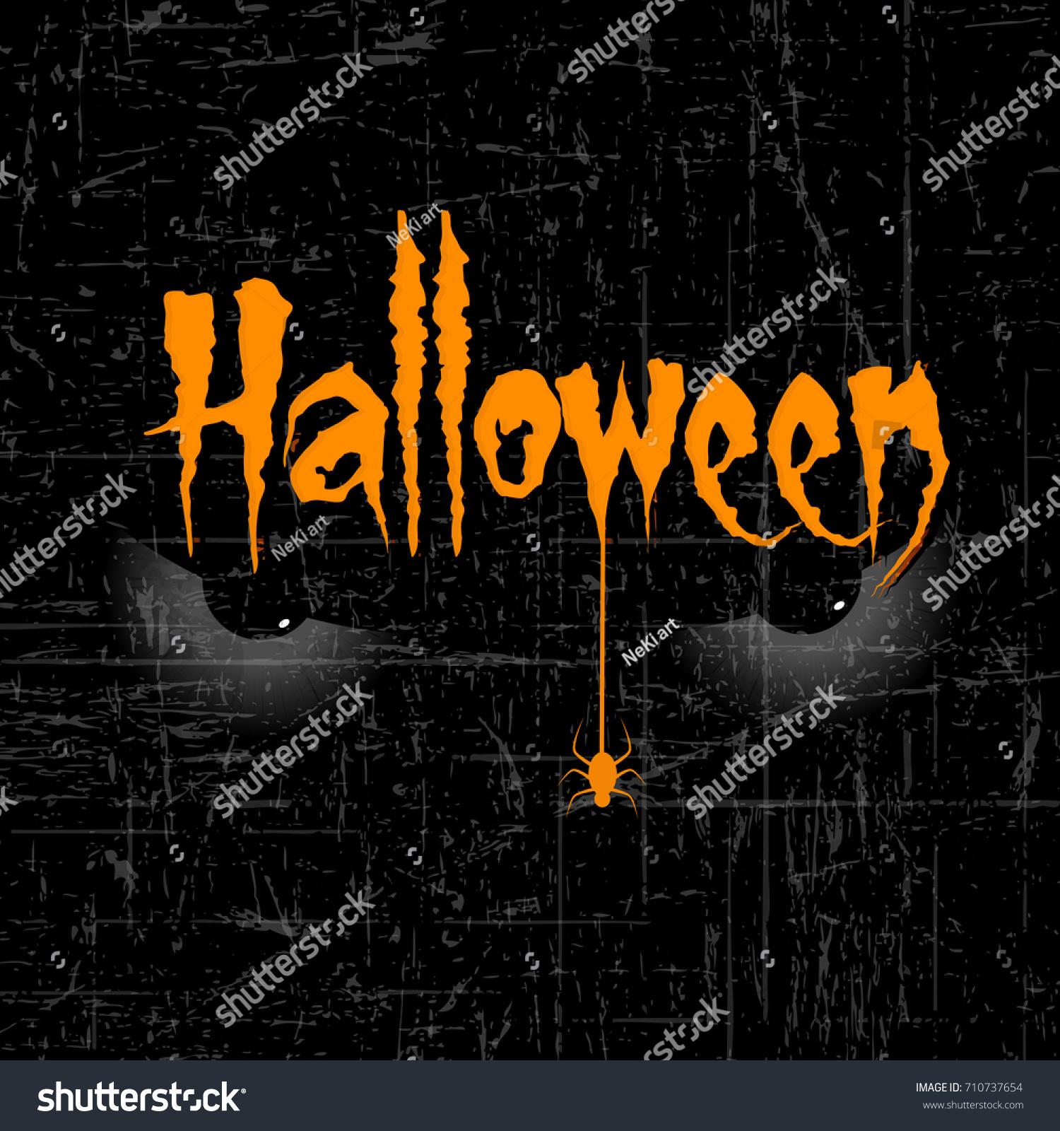 scary halloween eyes creative text halloween stock vector (royalty