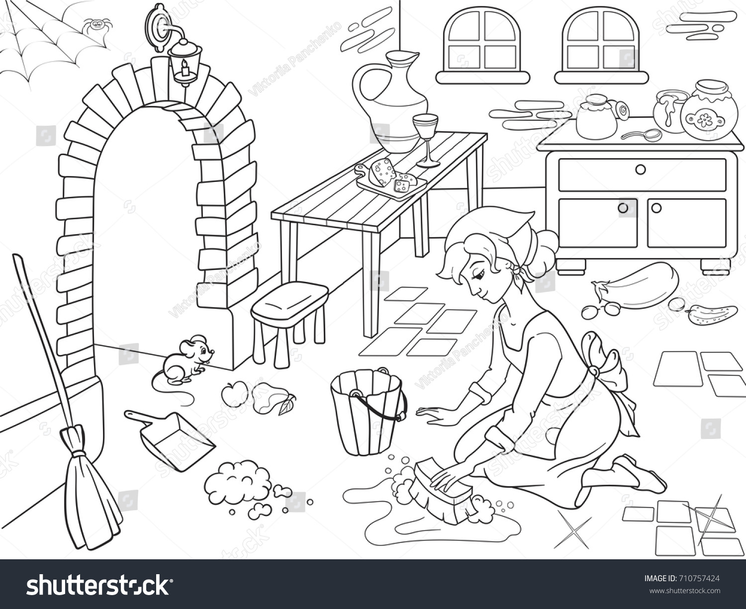Coloring book kitchen - Cinderella Cleans Up The Kitchen The Girl On The Floor Around The Mess