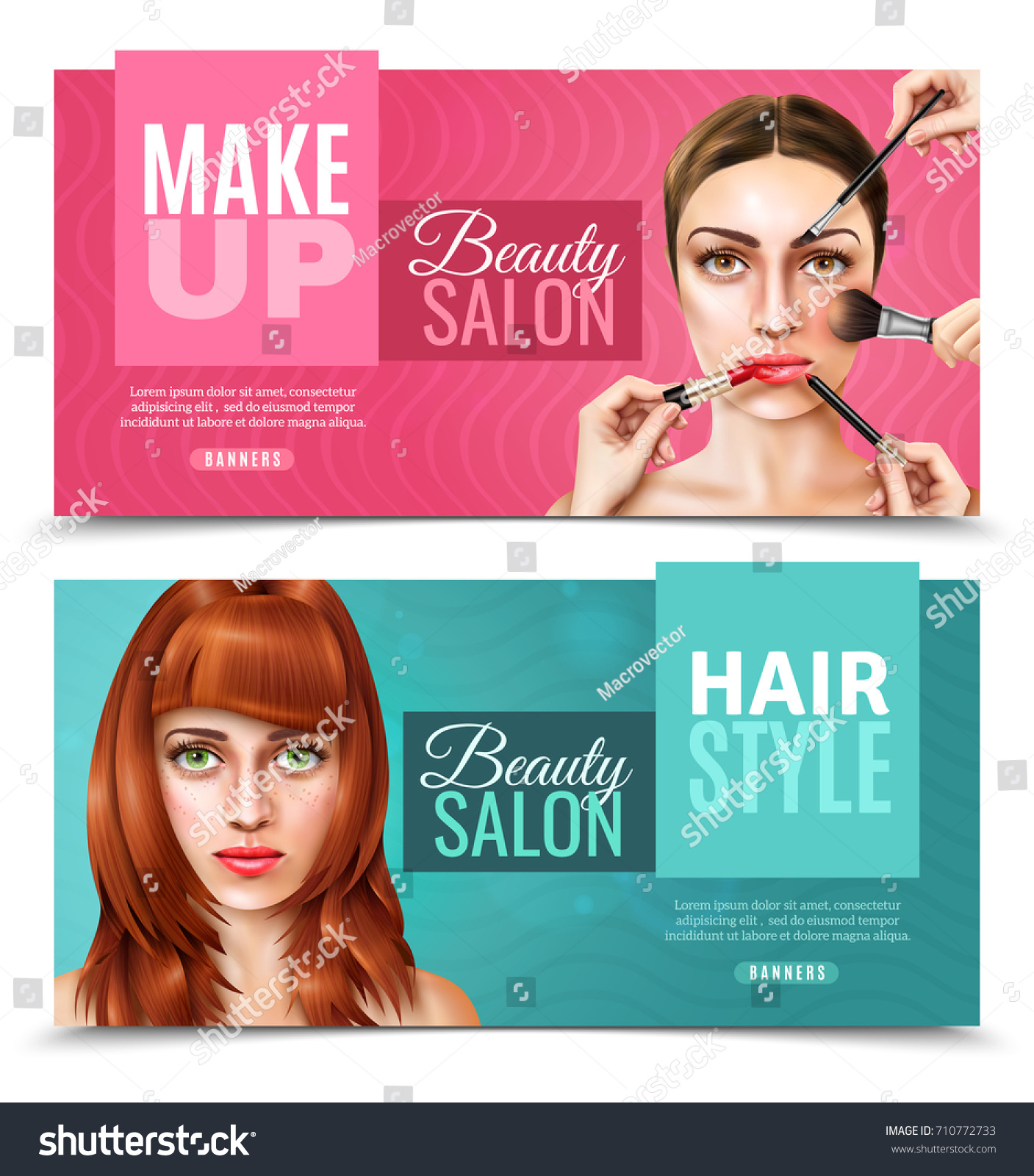 Horizontal Beauty Salon Banners Pink Blue Stock Vector Royalty Free 710772733