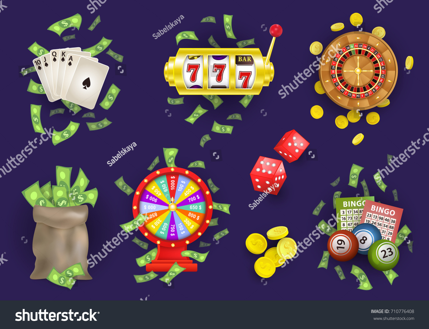 Traditional european roulette table vector illustration stock vector - Vector Flat Roulette Wheel Golden Coins Wheel Of Fortune Cash Money Bag
