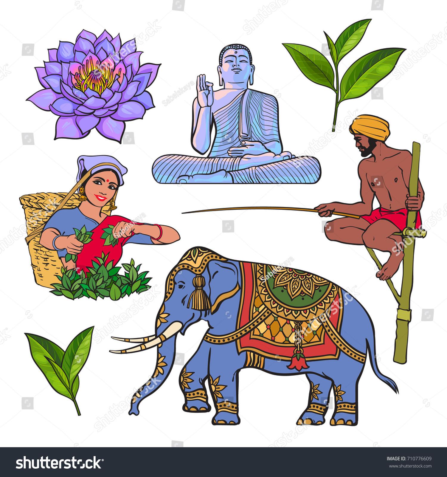 Sri Lanka Country Symbol Set Water Stock Vector Royalty Free