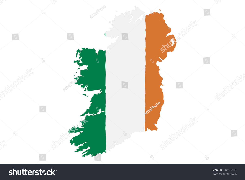 map ireland flag hand painted brush stock vector 710779849