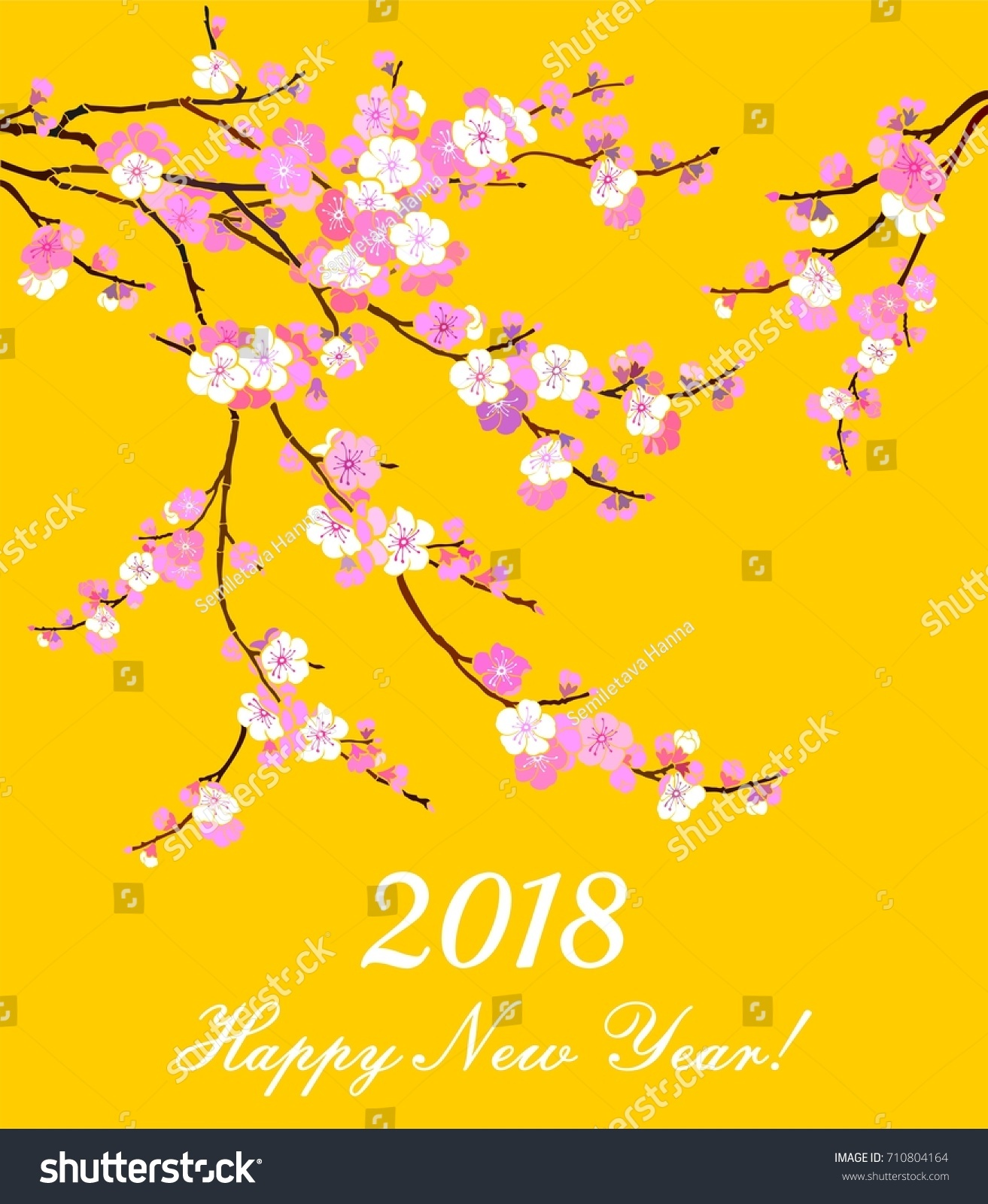 2018 happy new year greeting card celebration background with flowers and place for your text