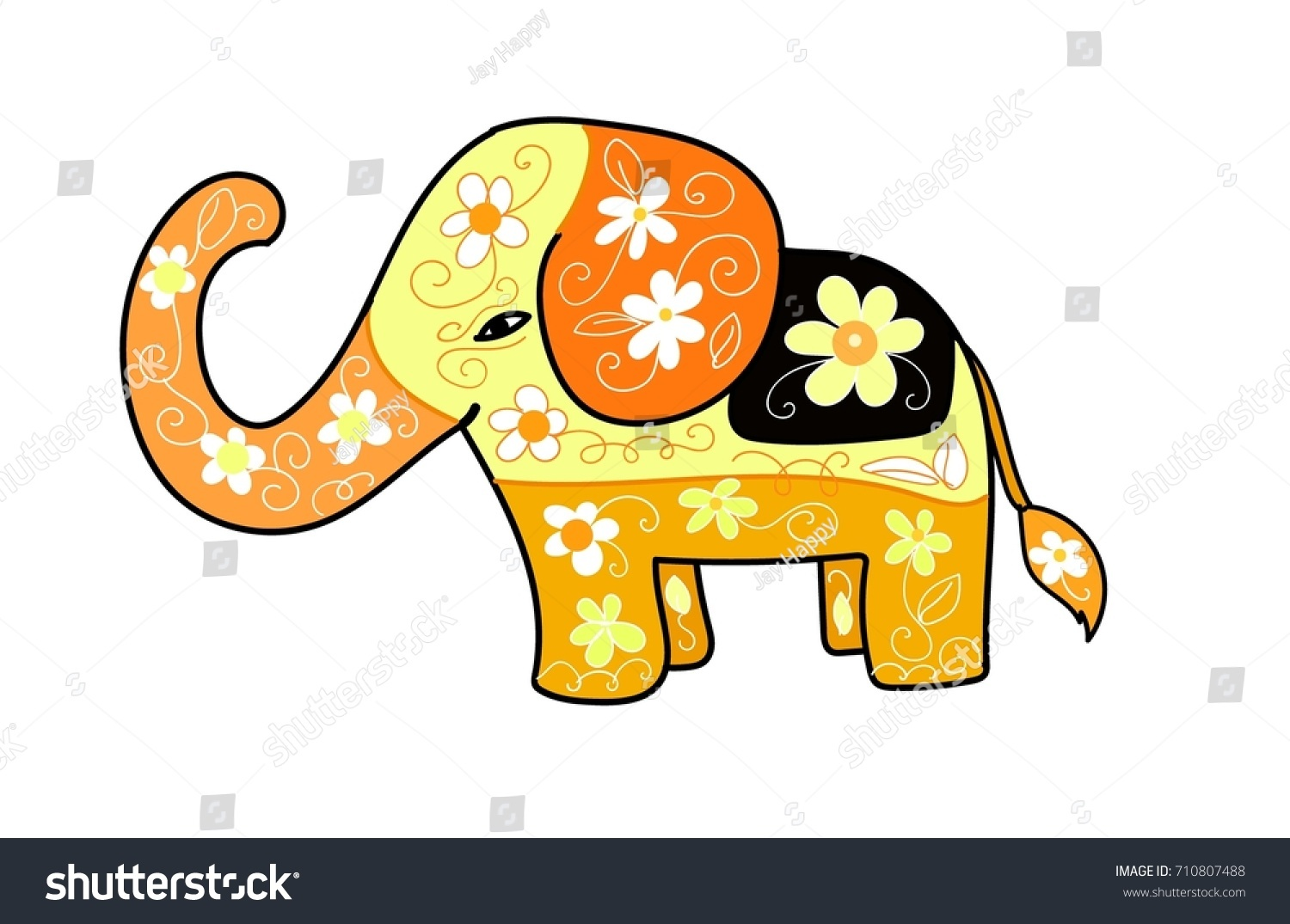 Cute Baby Elephant Cartoon Vector Animal 710807488