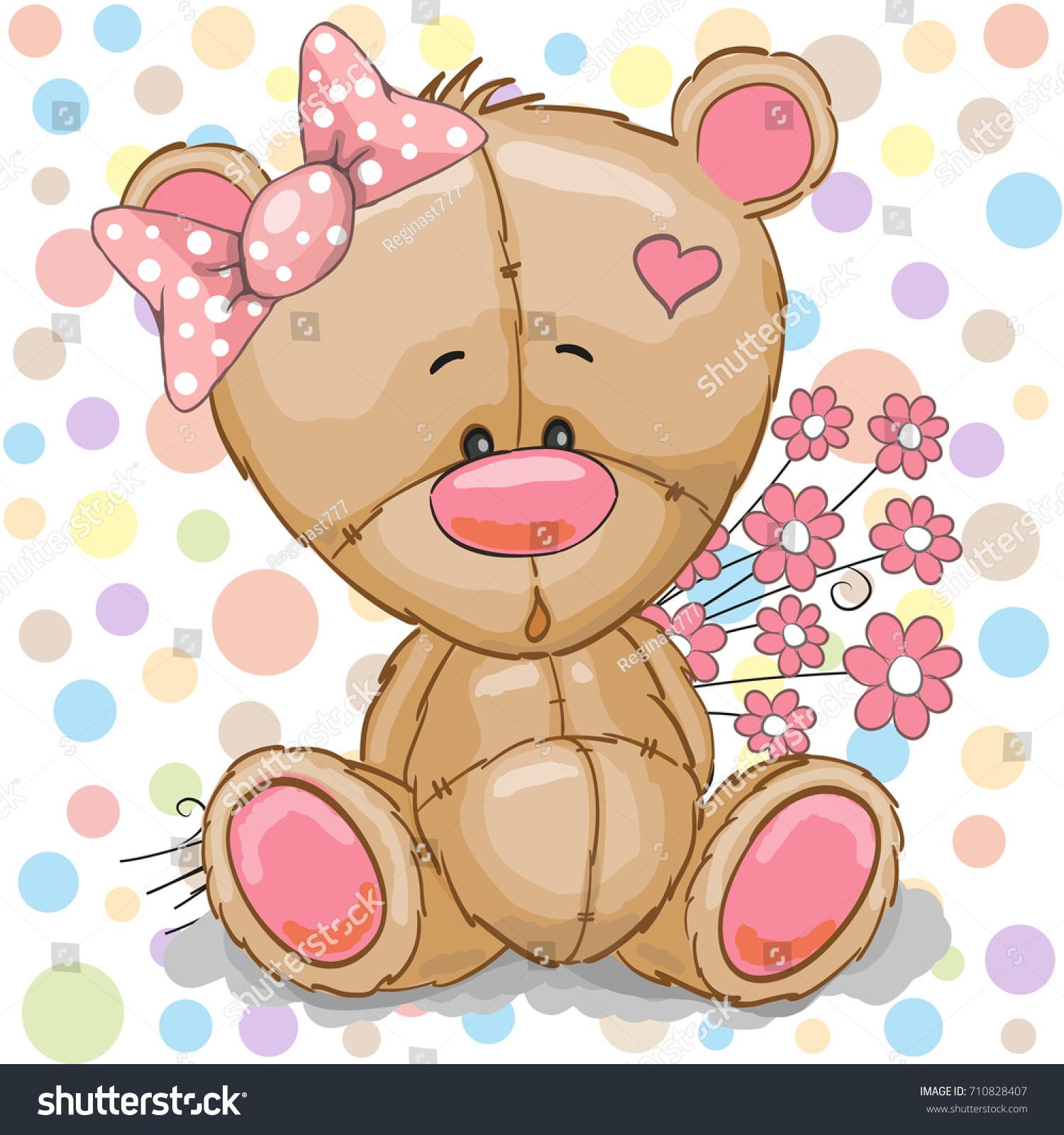 Cute cartoon teddy bear girl pink stock vector royalty free cute cartoon teddy bear girl with pink flowers mightylinksfo