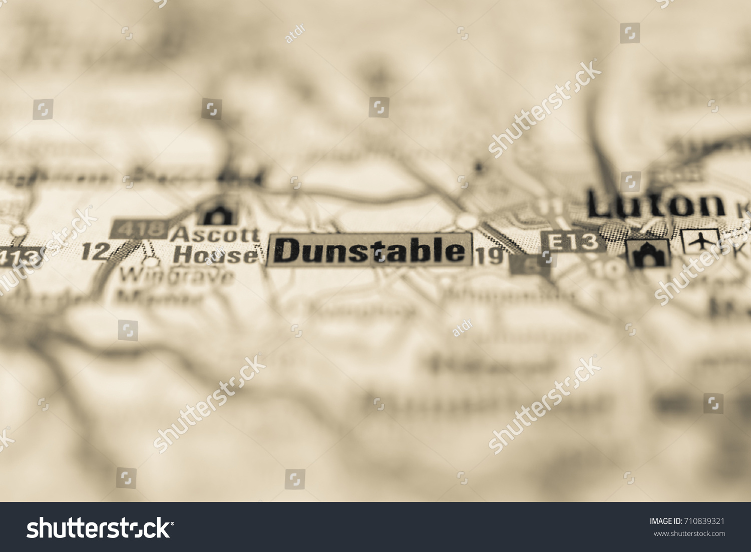 Dunstable On Map Stock Photo 710839321 Shutterstock