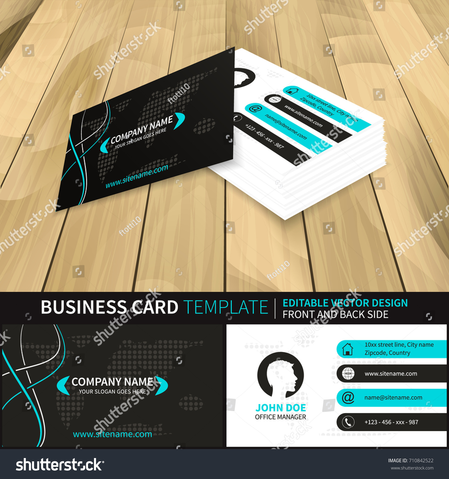 Business Card Vector Template World Map Stock Vector 710842522 ...