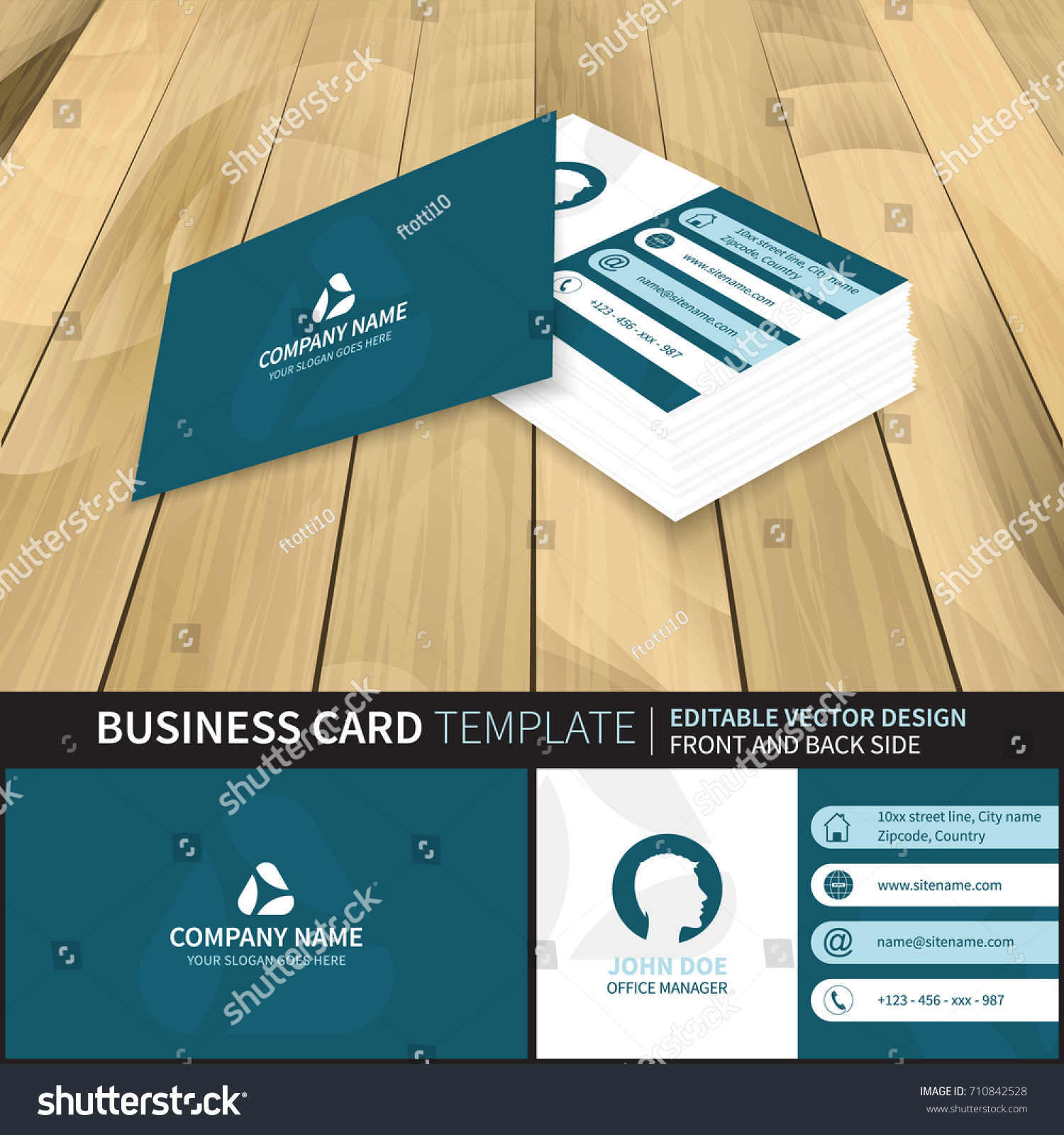Elegant blue creative vector business card stock vector 710842528 elegant blue creative vector business card template with contact information design with front and back magicingreecefo Image collections