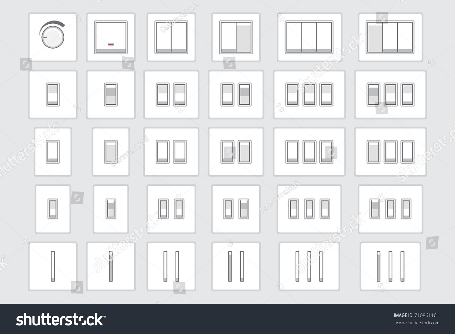 Vector Collection Different Light Switch Types Stock Vector (Royalty ...