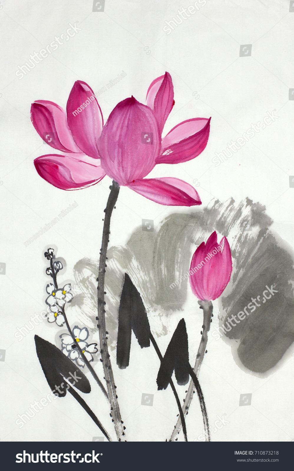 Lotus Flower Arrowpainter Painted Chinese Style Stock Illustration
