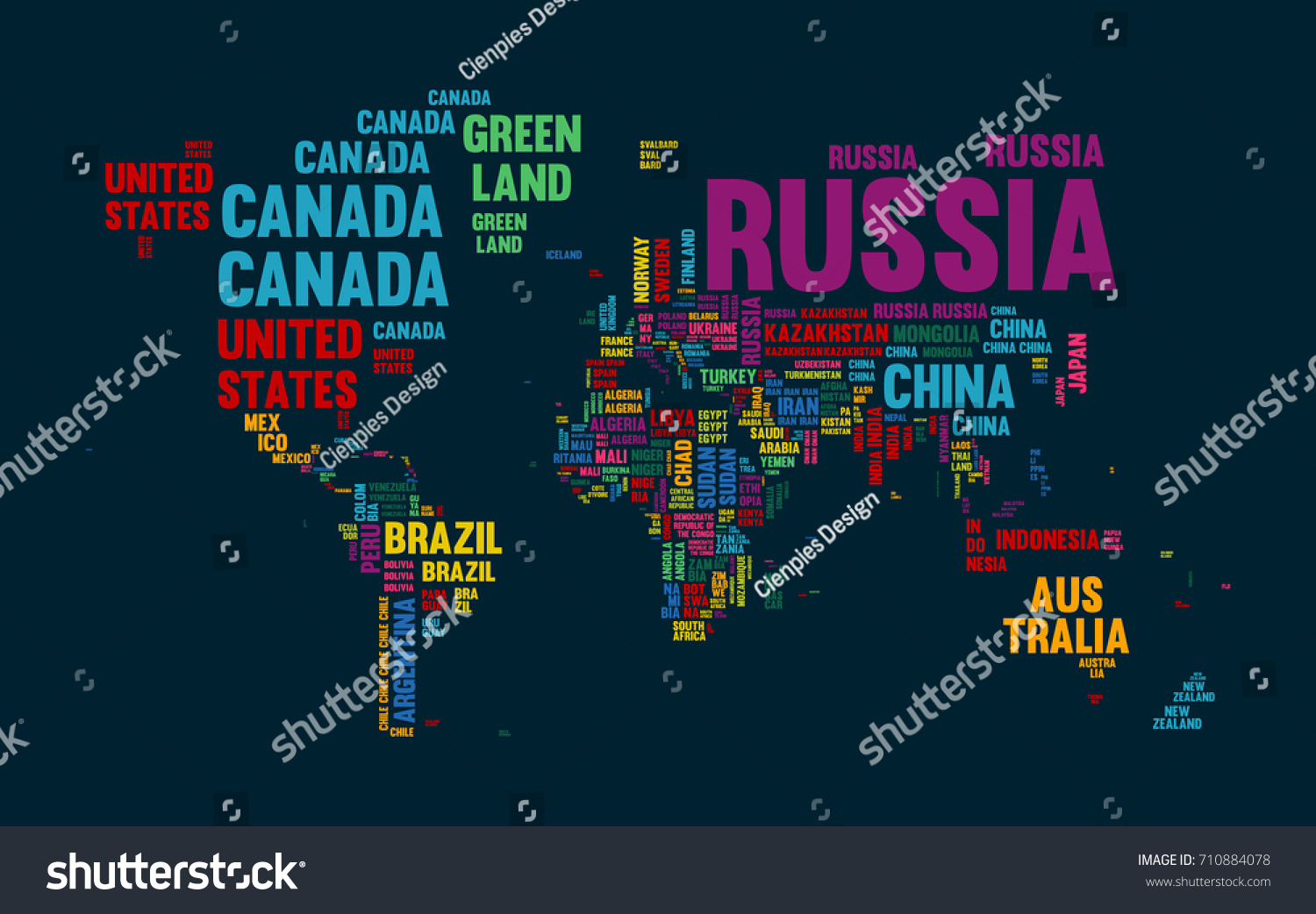 Typography color world map made every stock vector 710884078 typography color world map made of every country name concept text atlas design with continent gumiabroncs Choice Image