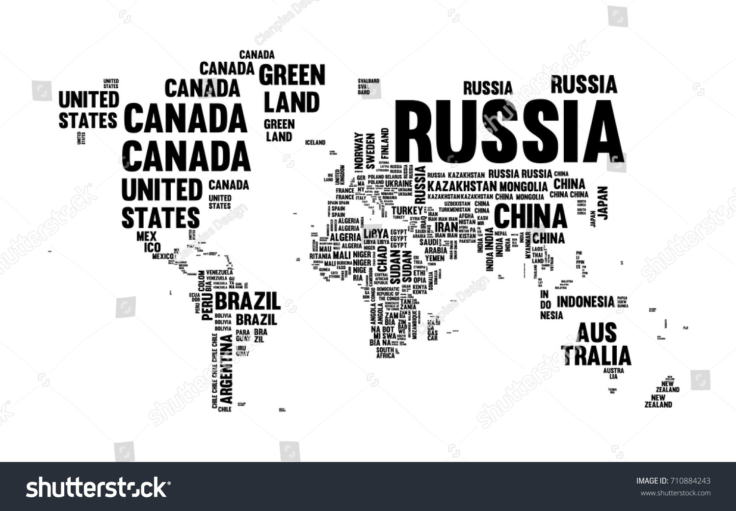 Typography World Map Made Every Country Stock Vector 710884243