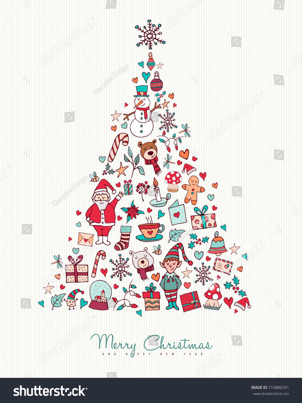 Merry Christmas Happy New Year Hand Stock Vector 710886391 - Shutterstock