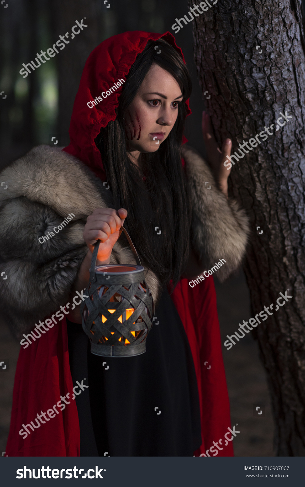 f51ab1a3a9 Little Red Riding Hood. A slightly darker take on the character where she  is the evil one hunting the wolf for its skin. Female model with black  hair