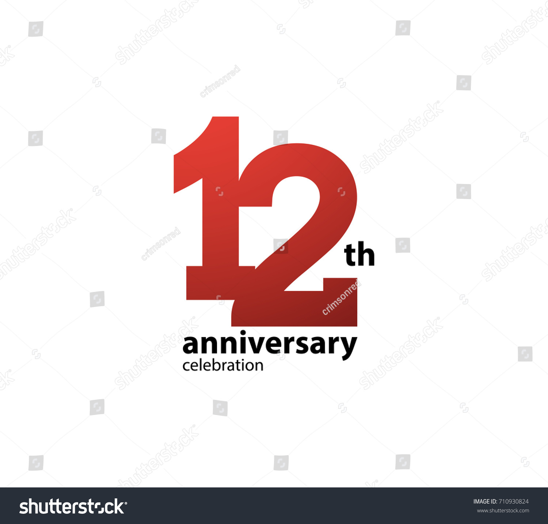 12 Th Anniversary Celebration Logotype Anniversary Logo Stock Vector ...