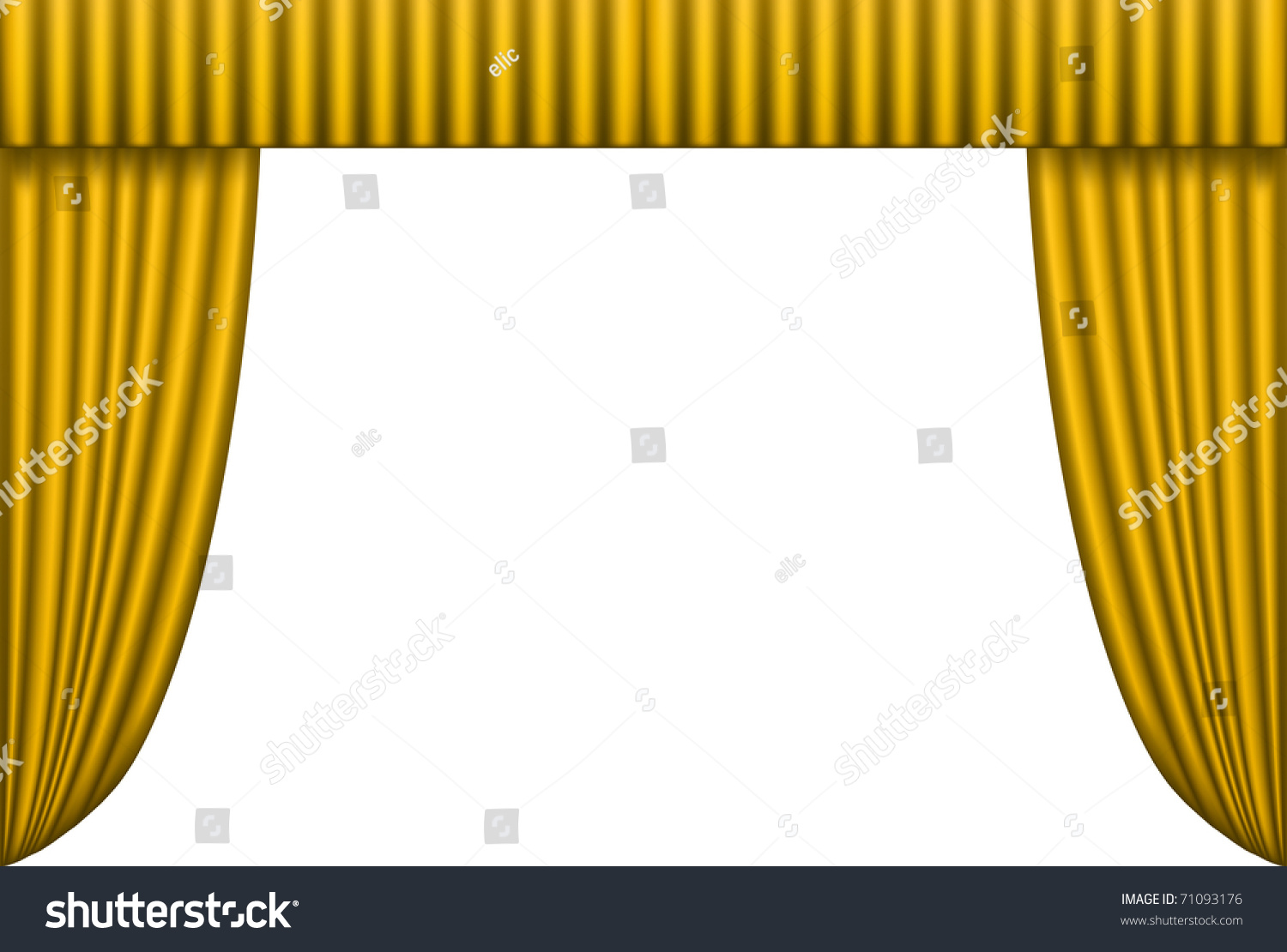 Gold stage curtain - Open Gold Theater Curtain Background Vector Illustration