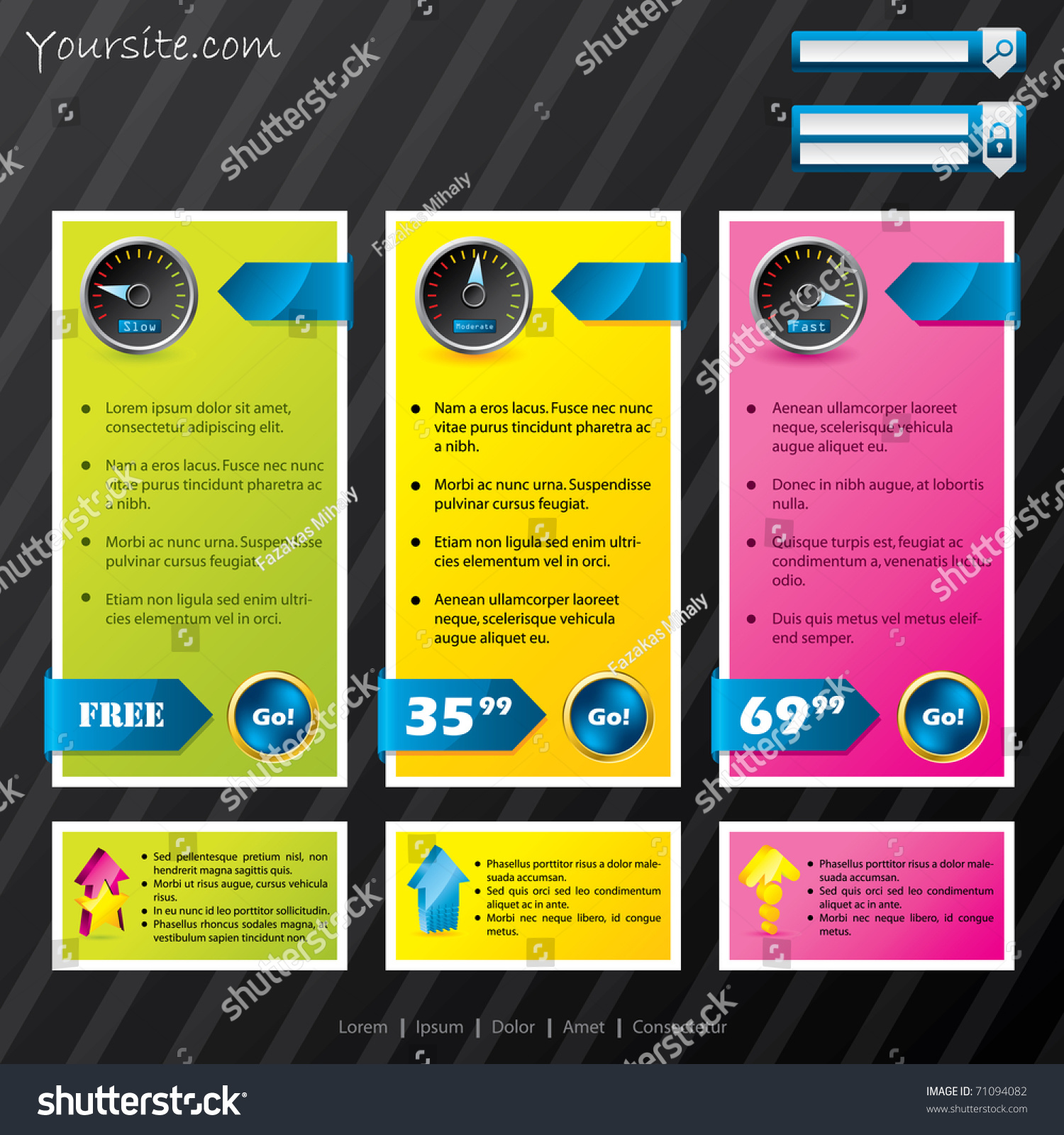 subscription website template with different options stock vector illustration 71094082. Black Bedroom Furniture Sets. Home Design Ideas