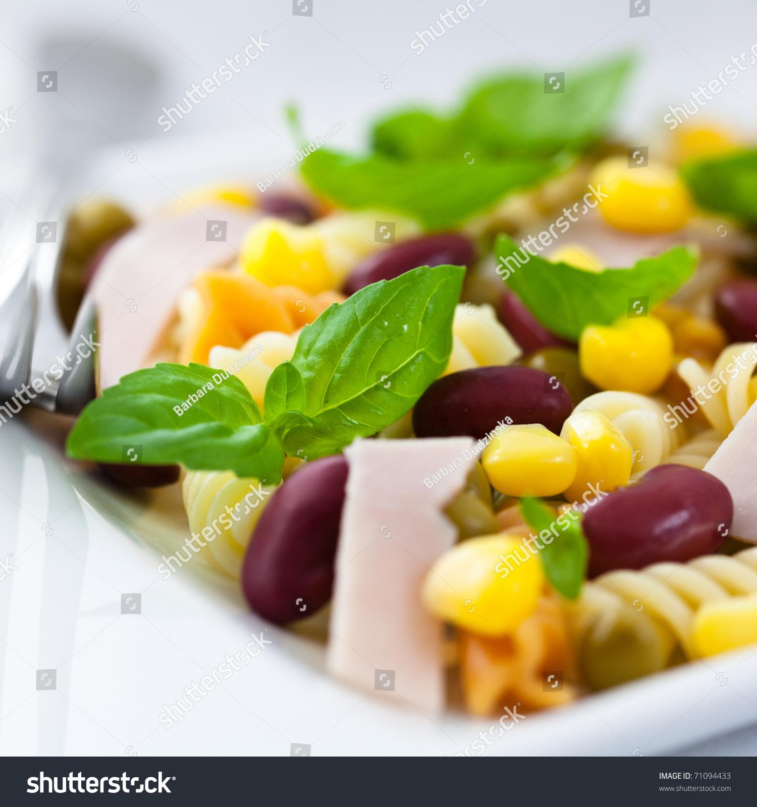 Fusilli Pasta Salad Kidney Beans Sweet Stock Photo Edit Now 71094433