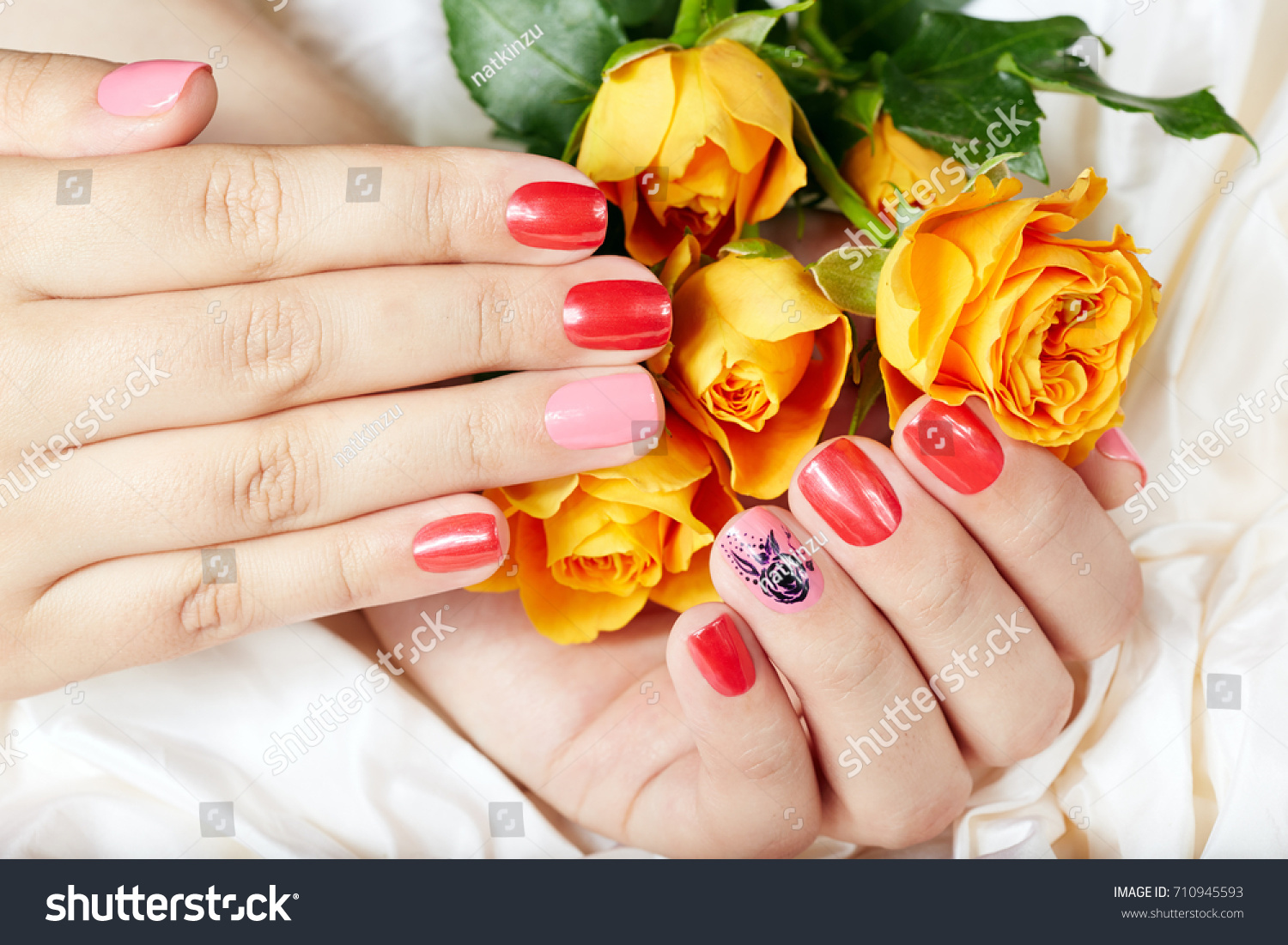 Hands Short Manicured Nails Colored Pink Stock Photo (100% Legal ...