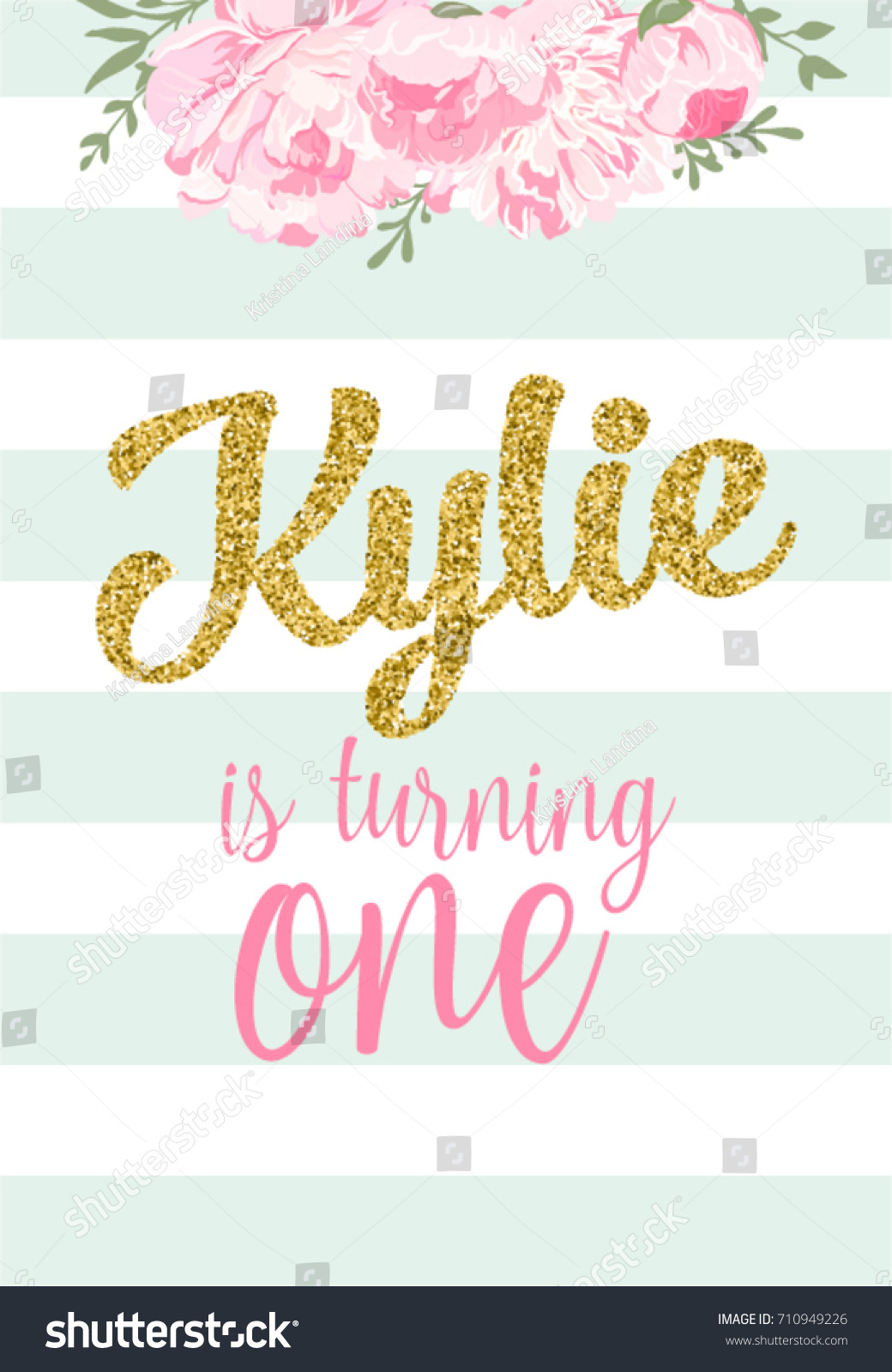 First Birthday Party Invitation Girl Kylie Image Vectorielle De